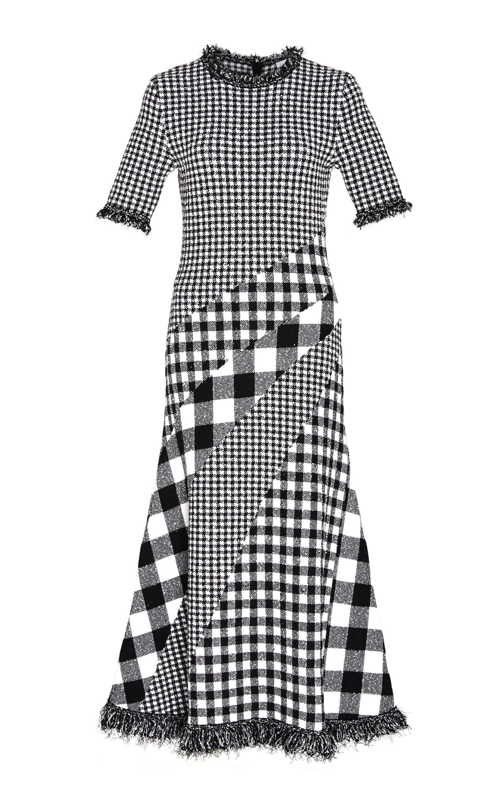 Buy Oscar de la Renta Asymmetric Gingham Tweed Midi Dress online, shop Oscar de la Renta at the best price