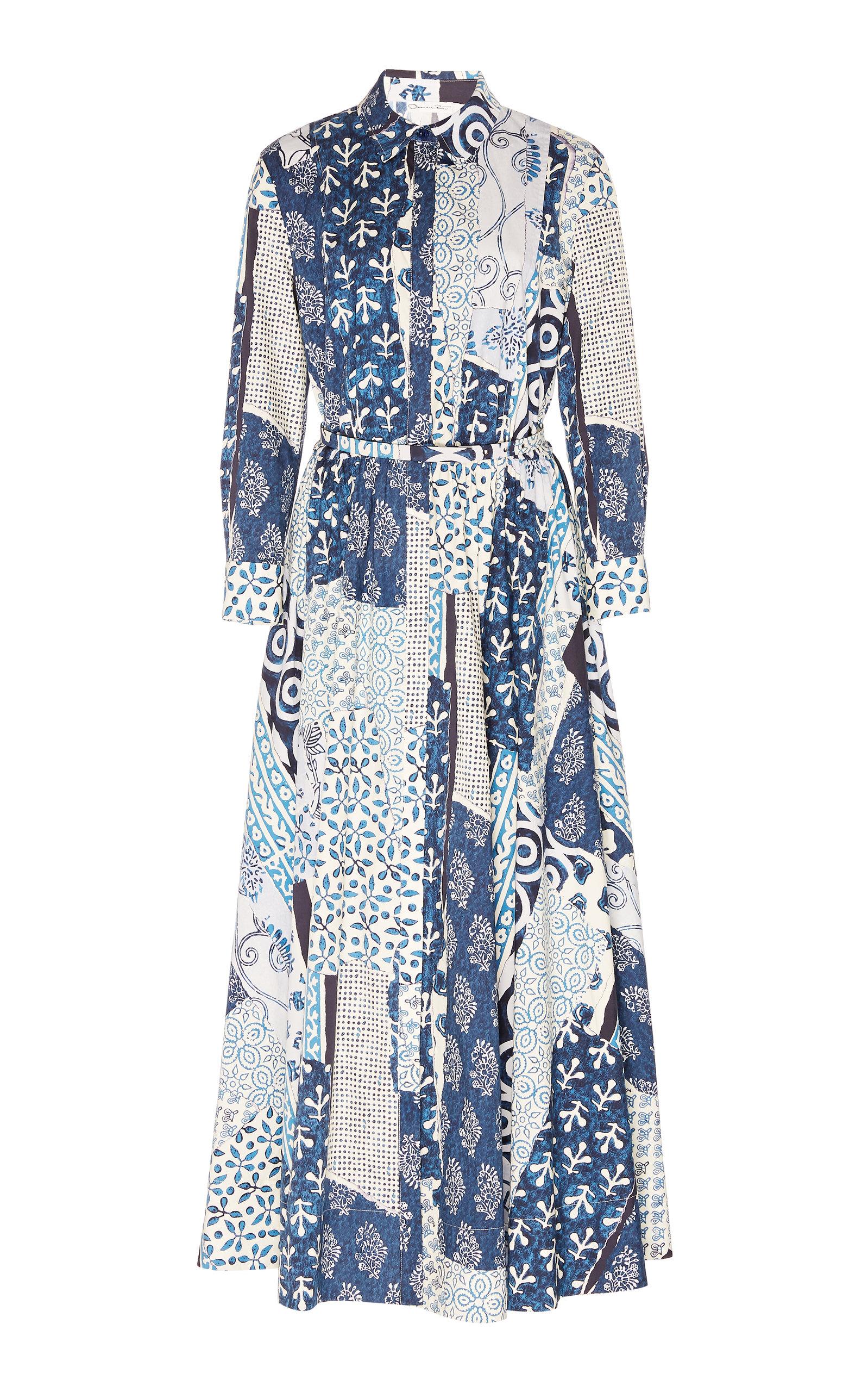 Buy Oscar de la Renta Patchwork Cotton-Blend Midi Dress online, shop Oscar de la Renta at the best price