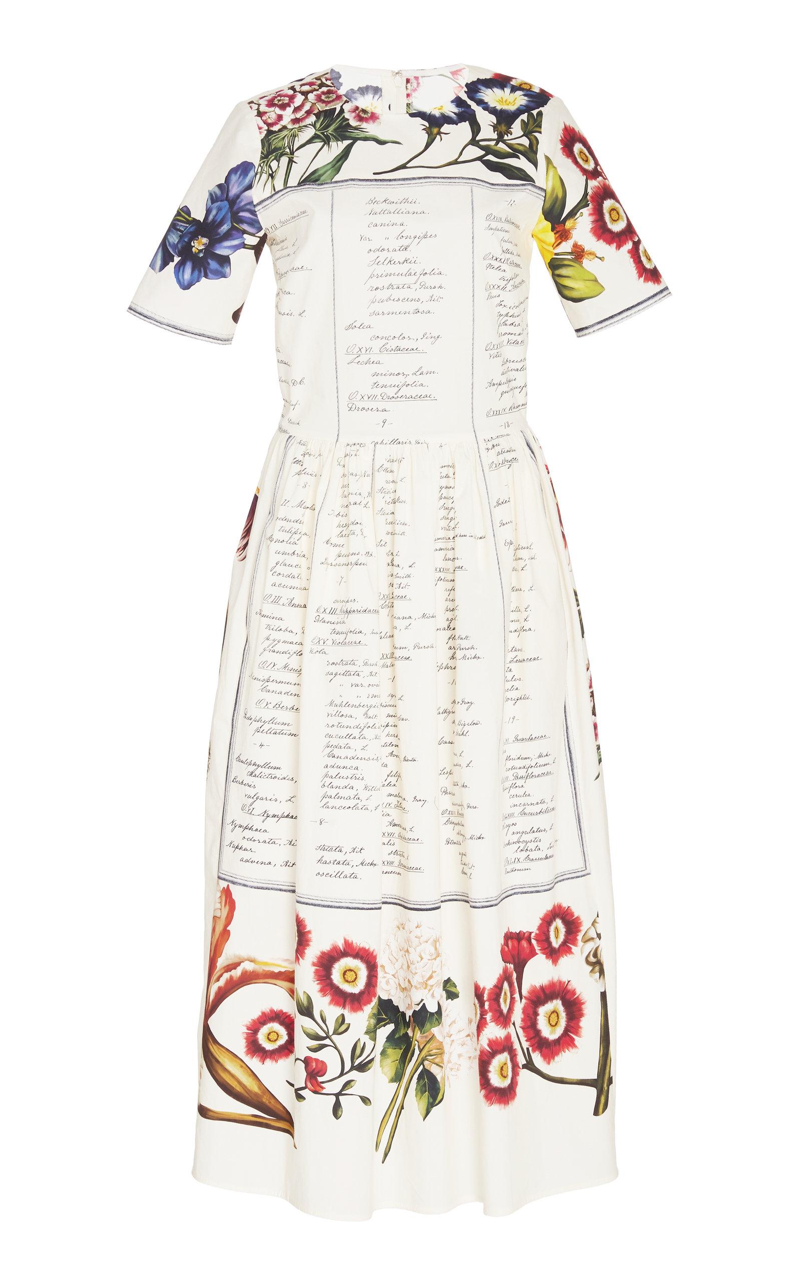 Buy Oscar de la Renta Printed Cotton-Poplin Midi Dress online, shop Oscar de la Renta at the best price