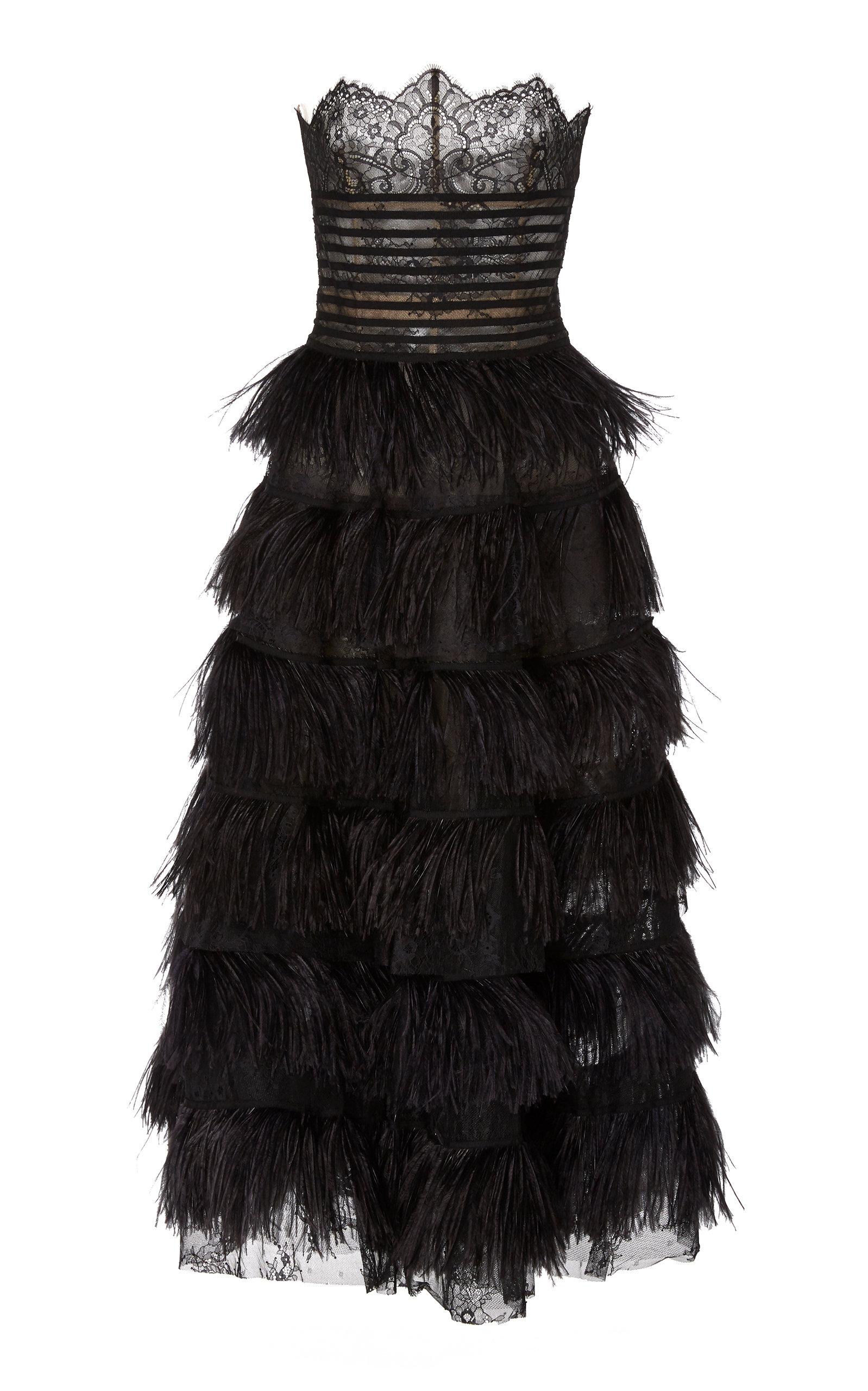 Buy Oscar de la Renta Strapless Embroidered Lace Dress online, shop Oscar de la Renta at the best price