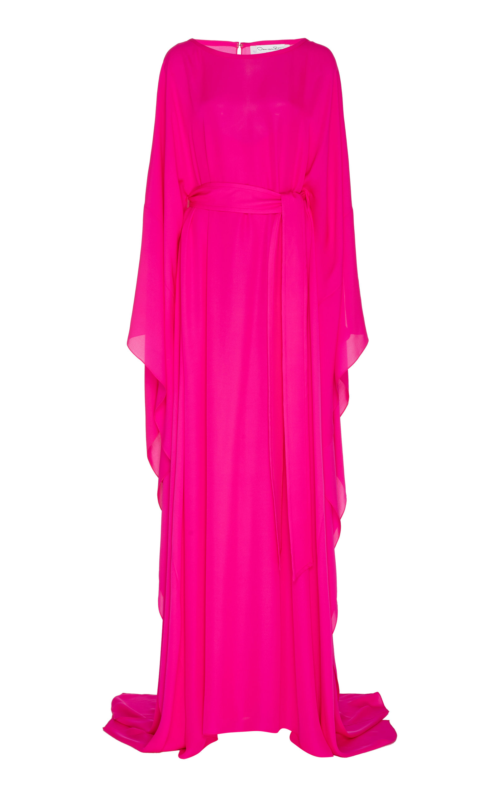 Buy Oscar de la Renta Belted Silk-Satin Caftan Gown online, shop Oscar de la Renta at the best price