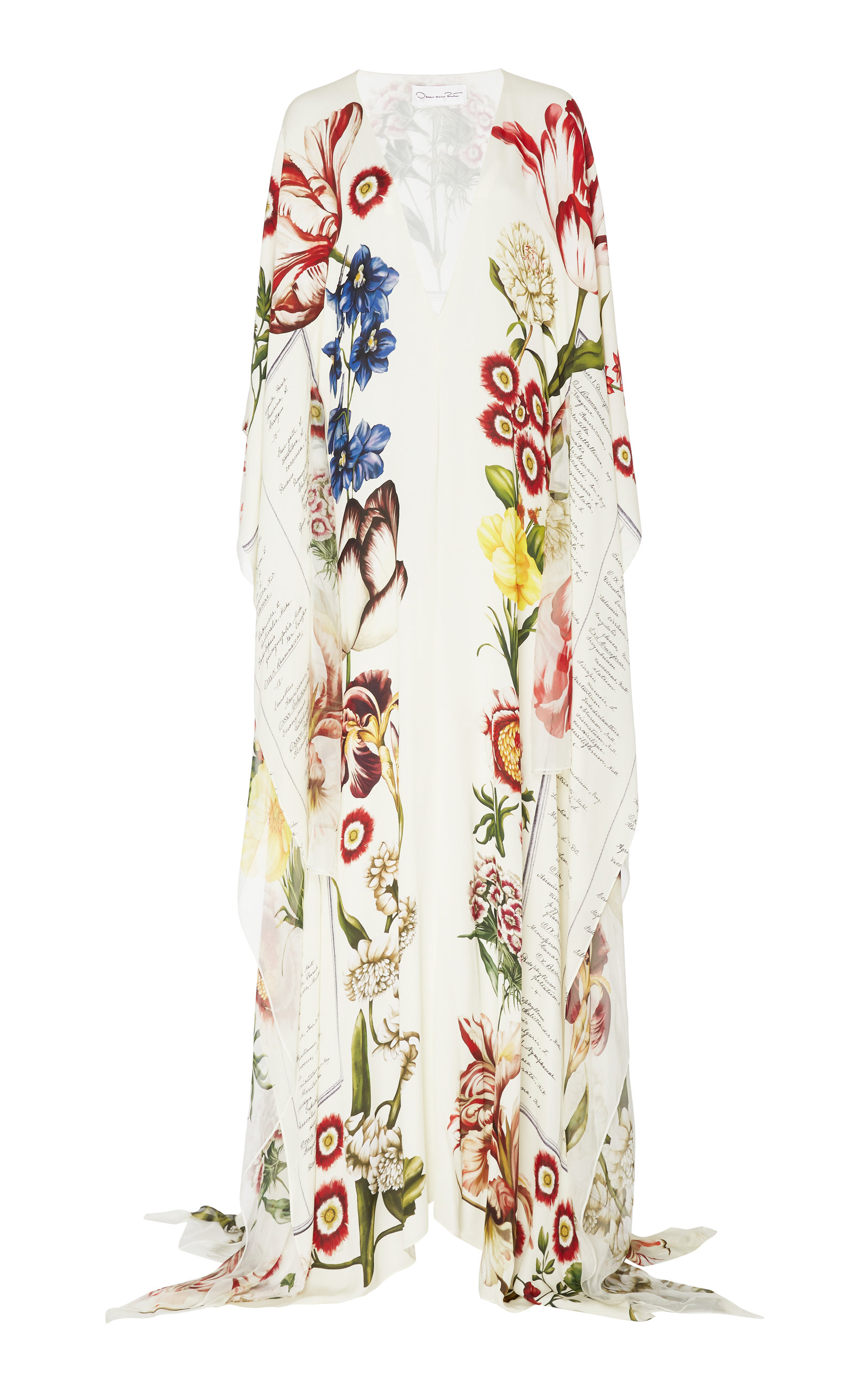 Buy Oscar de la Renta Patterned Butterfly Sleeve Cady Caftan Dress online, shop Oscar de la Renta at the best price