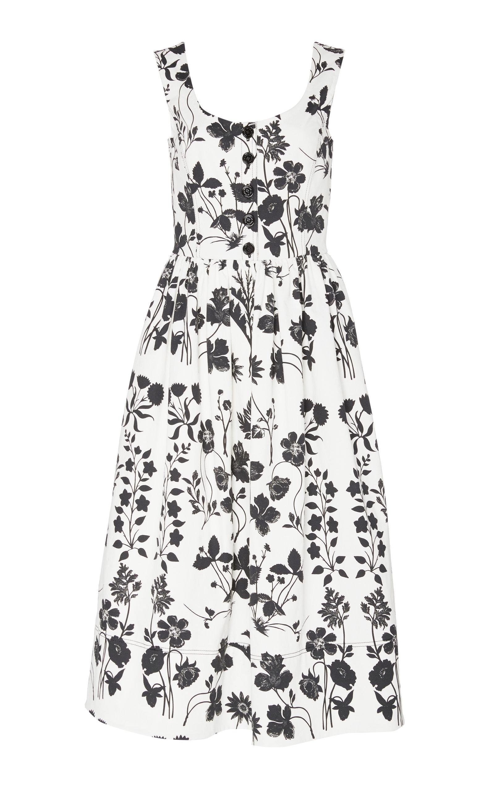 Buy Oscar de la Renta Floral-Print Cotton-Poplin Midi Dress online, shop Oscar de la Renta at the best price