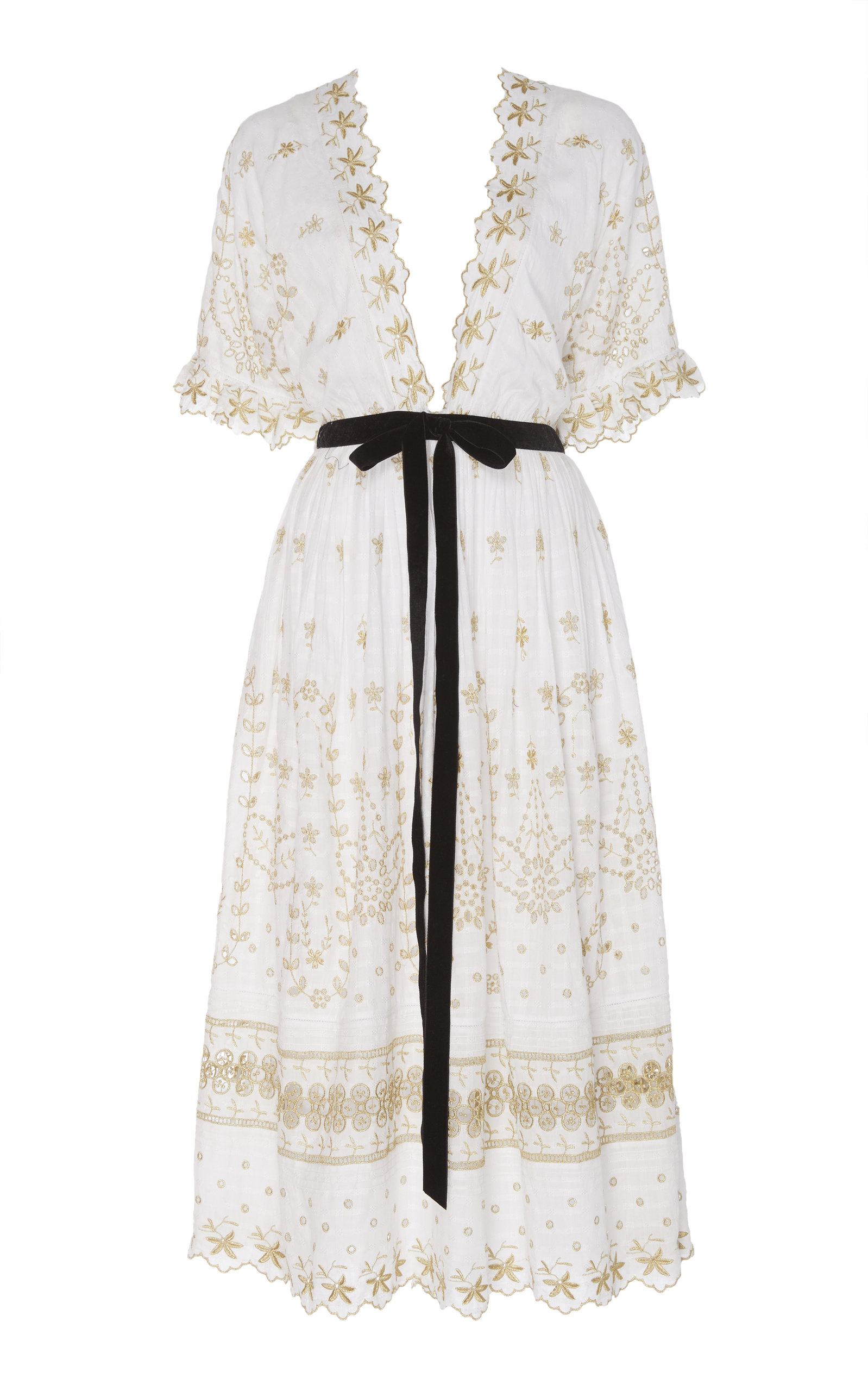 Buy LoveShackFancy Augusta Embroidered Poplin Midi Dress online, shop LoveShackFancy at the best price