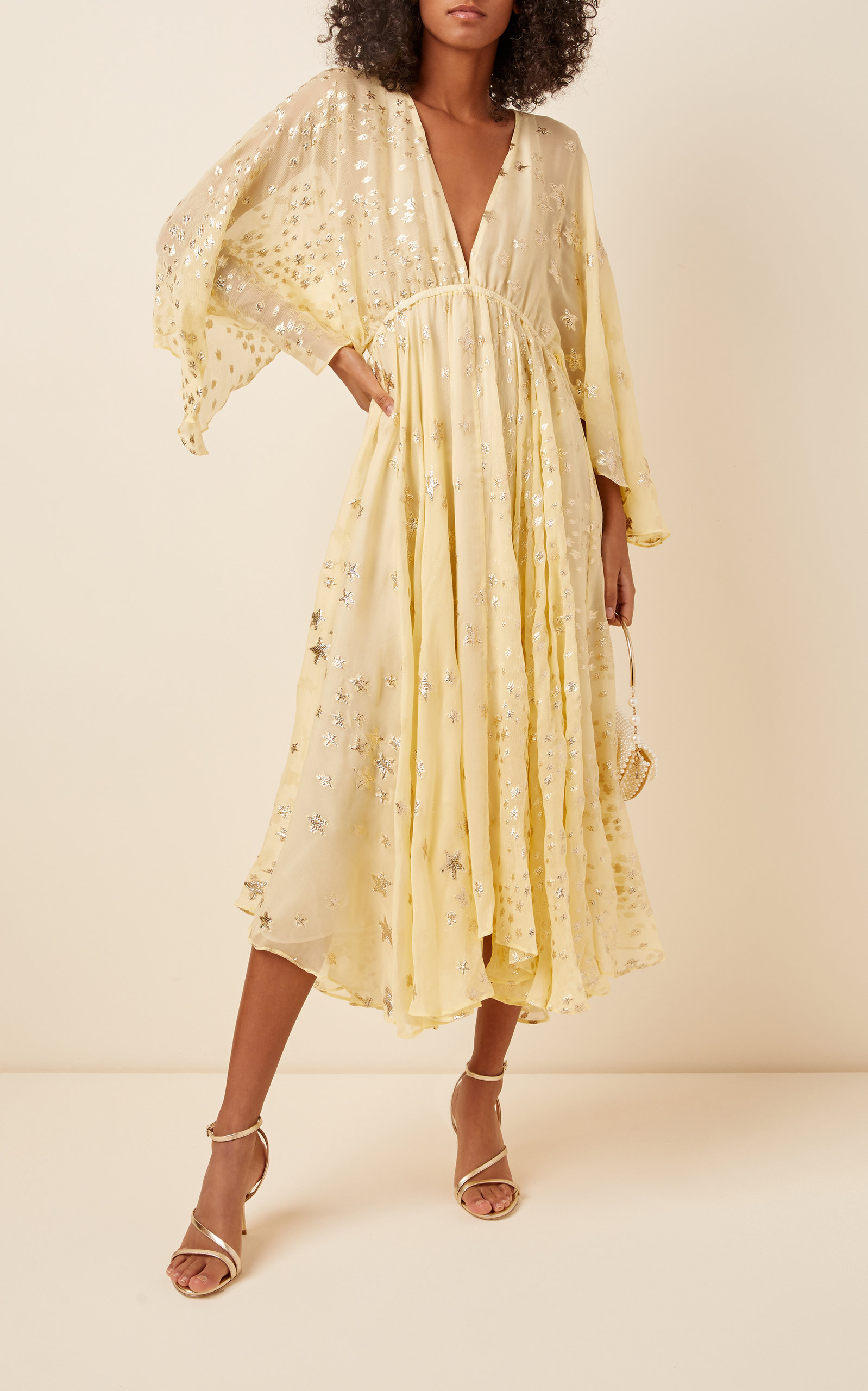 Buy LoveShackFancy Solana Flowing Silk-Blend Midi Dress online, shop LoveShackFancy at the best price
