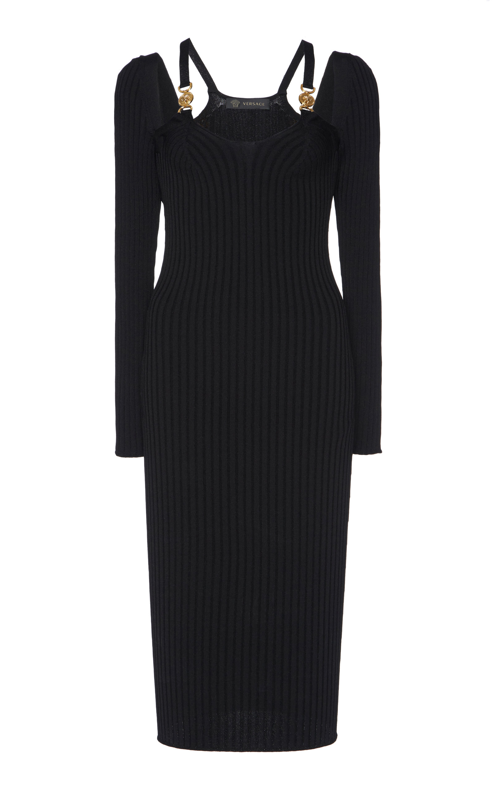 Buy Versace Cutout Ribbed Stretch-Knit Midi Dress online, shop Versace at the best price