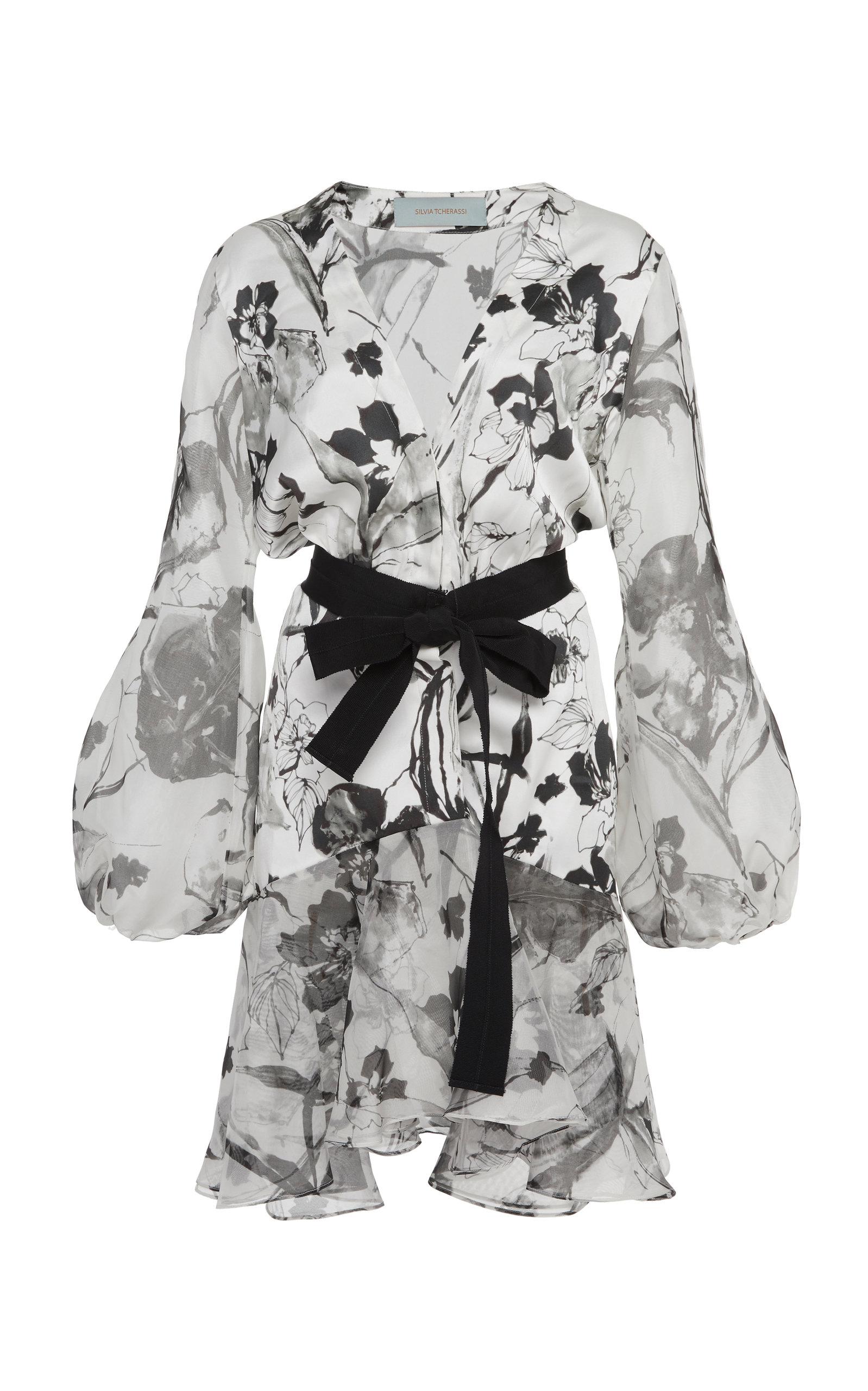 Buy Silvia Tcherassi Bow-Accented Galena Silk Mini Dress online, shop Silvia Tcherassi at the best price