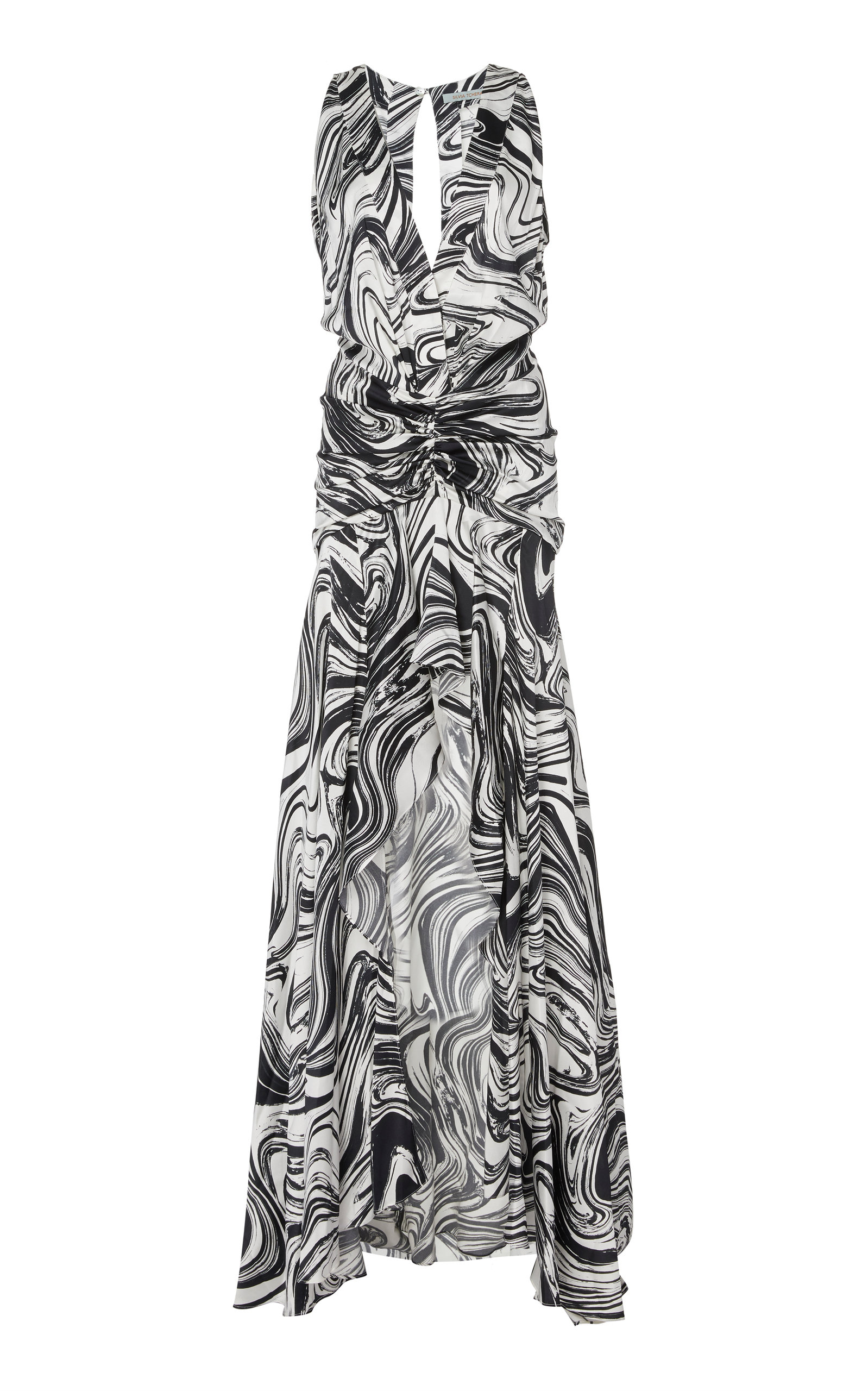Buy Silvia Tcherassi Egle Printed Silk-Satin Gown online, shop Silvia Tcherassi at the best price
