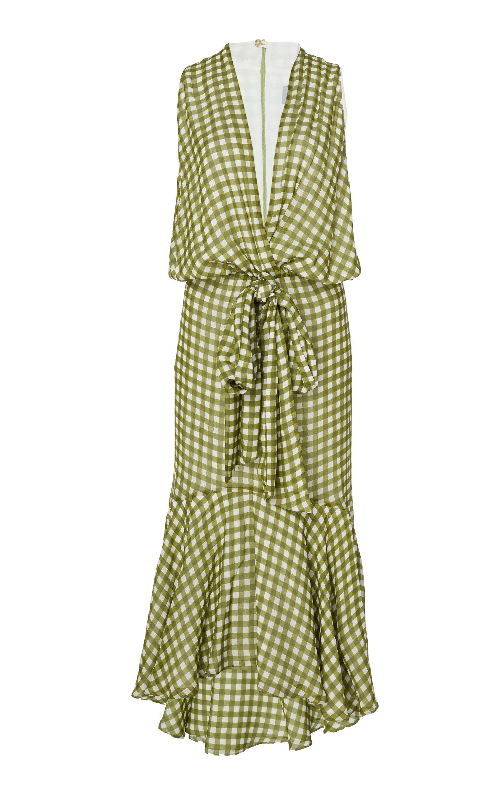 Buy Silvia Tcherassi Gina Tie-Front Gingham Chiffon Midi Dress online, shop Silvia Tcherassi at the best price