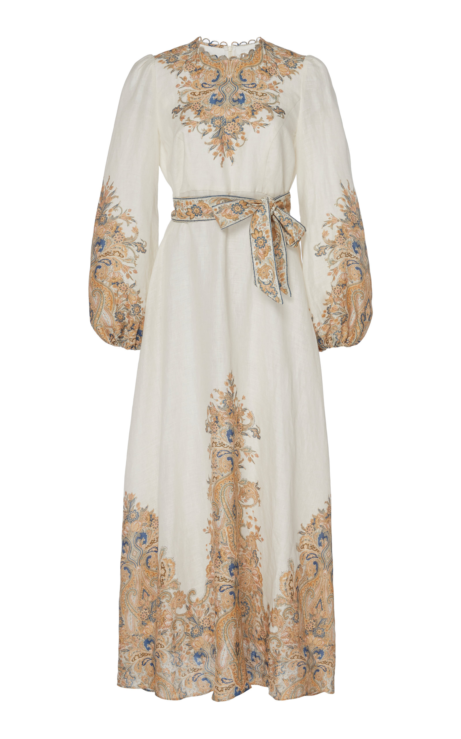 Buy Zimmermann Freja Belted Paisley-Print Linen Maxi Dress online, shop Zimmermann at the best price