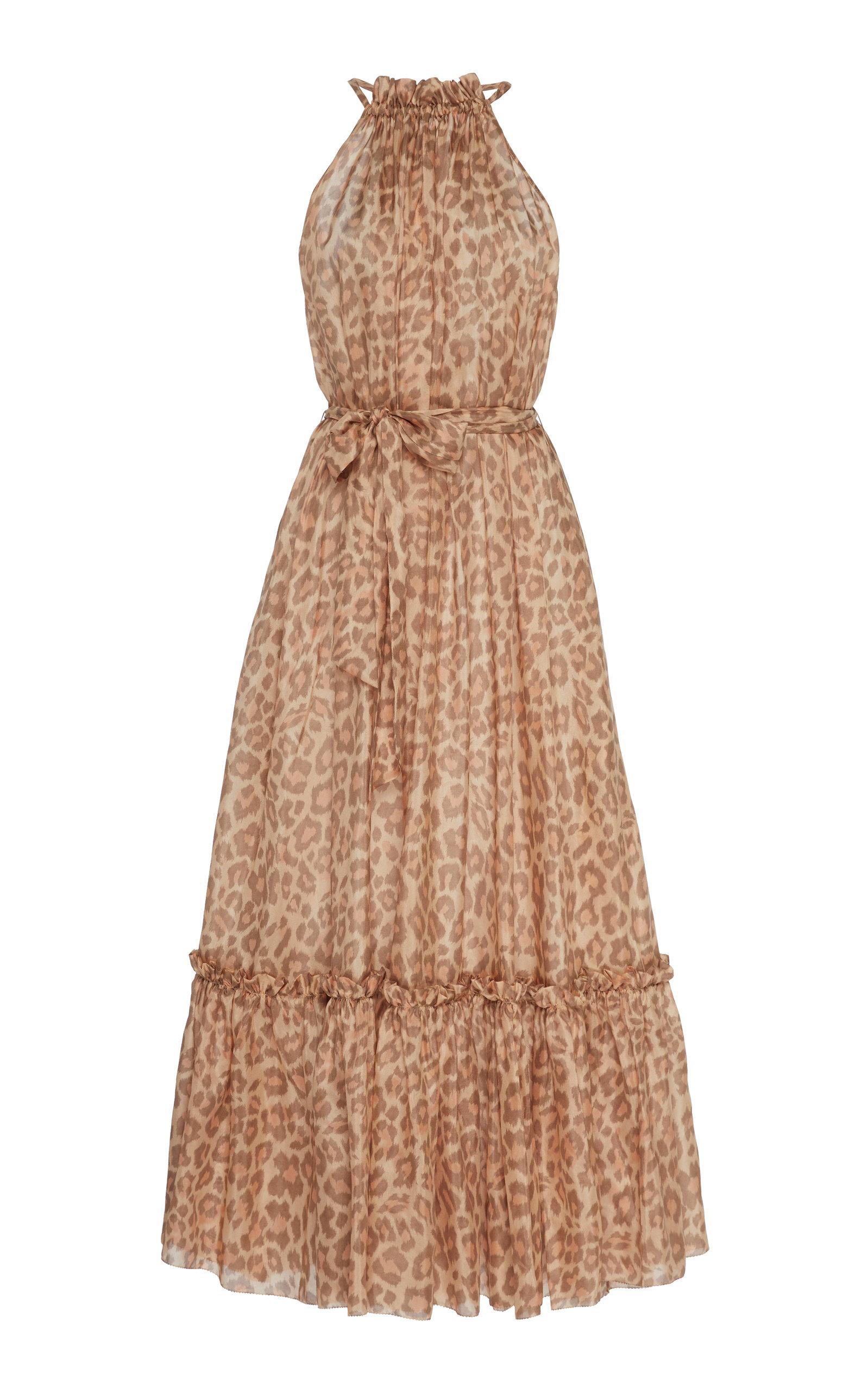 Buy Zimmermann Kirra Leopard-Print Silk-Chiffon Midi Dress online, shop Zimmermann at the best price