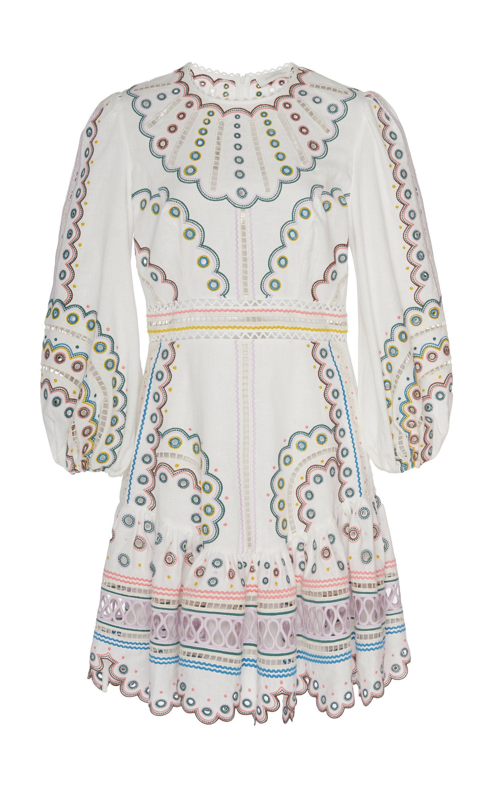 Buy Zimmermann Peggy Broderie Anglaise Linen Mini Dress online, shop Zimmermann at the best price