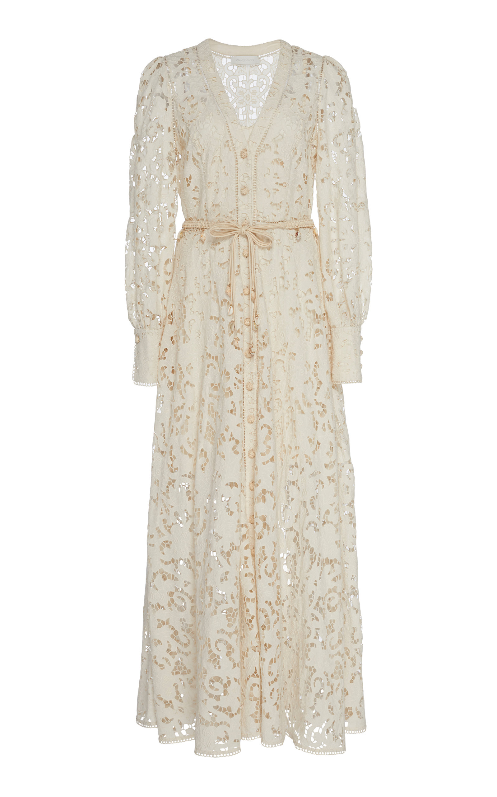 Buy Zimmermann Bonita Bow-Detailed Crochet-Knit Cotton Lace Dress online, shop Zimmermann at the best price