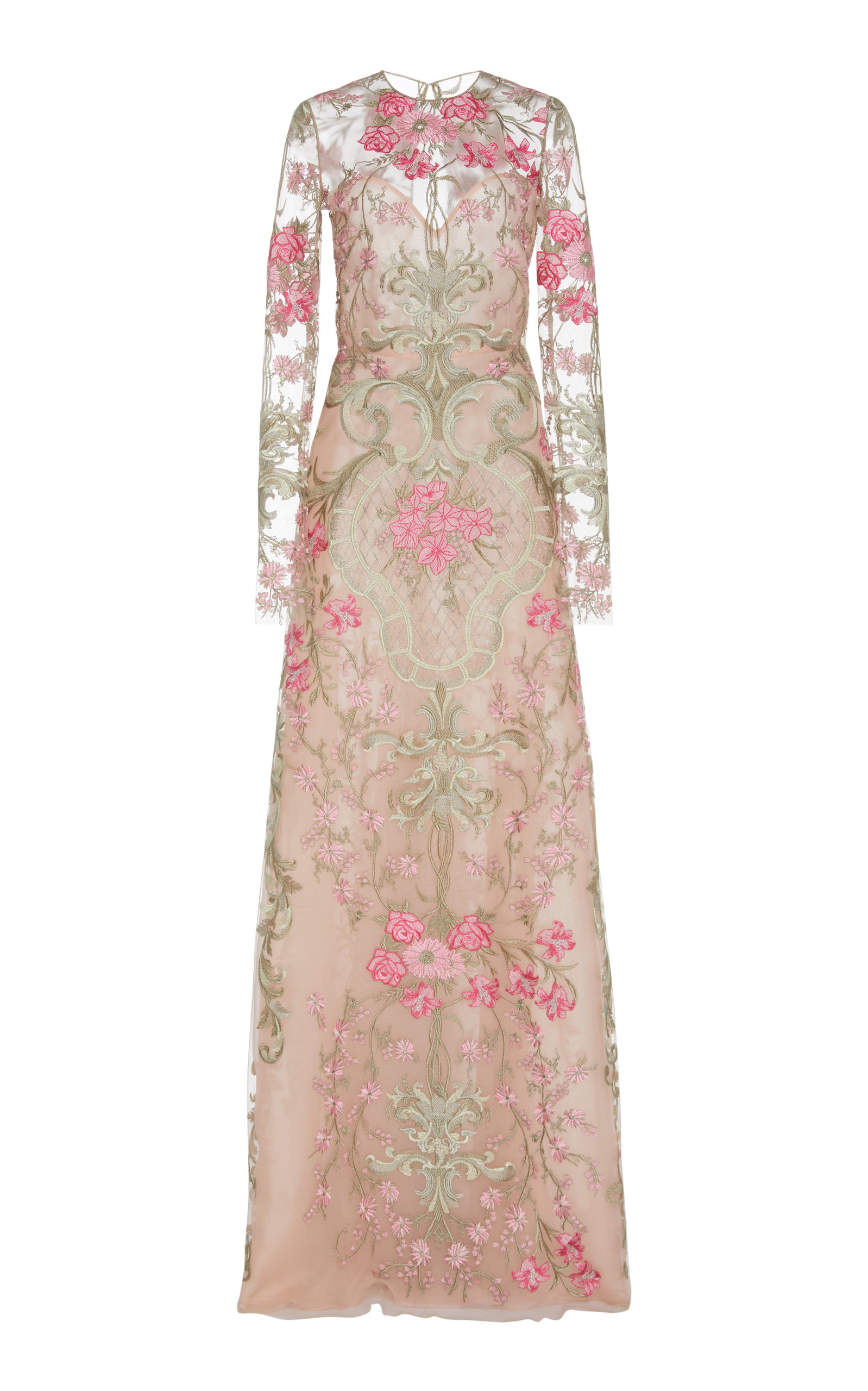 Buy Naeem Khan Floral-Embroidered Tulle Gown online, shop Naeem Khan at the best price