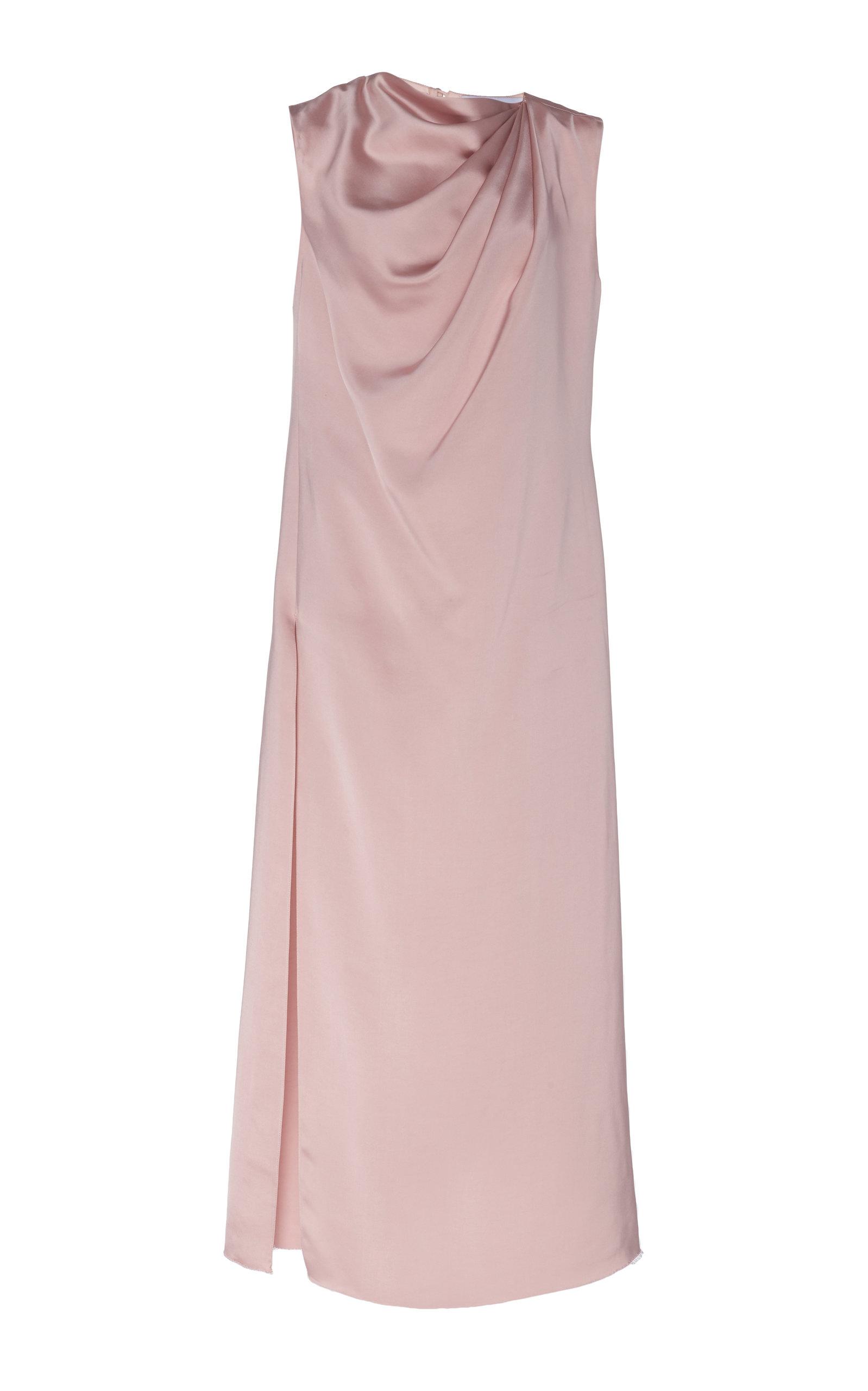Buy Marina Moscone Draped Satin Midi Dress online, shop Marina Moscone at the best price