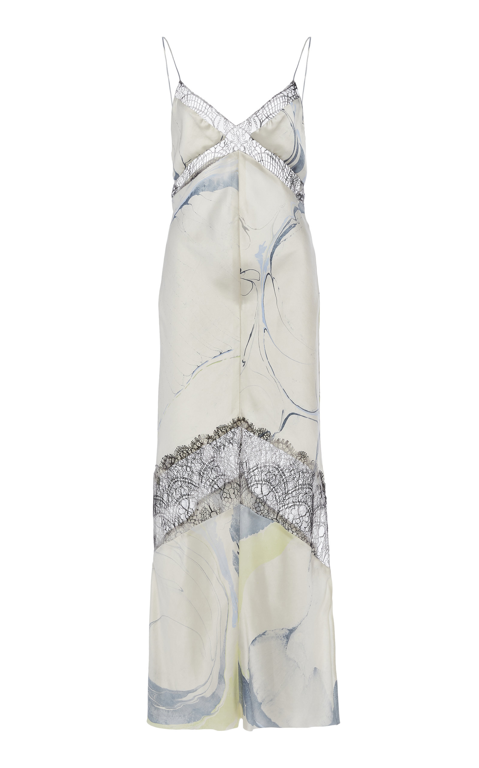 Buy Marina Moscone Lace-Trimmed Printed Satin Midi Dress online, shop Marina Moscone at the best price
