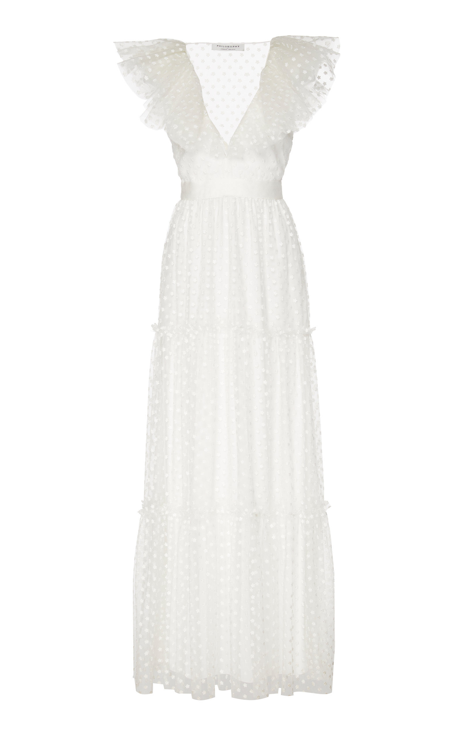 Buy Philosophy di Lorenzo Serafini Ruffled Polka-Dot Flocked Tulle Maxi Dr online, shop Philosophy di Lorenzo Serafini at the best price