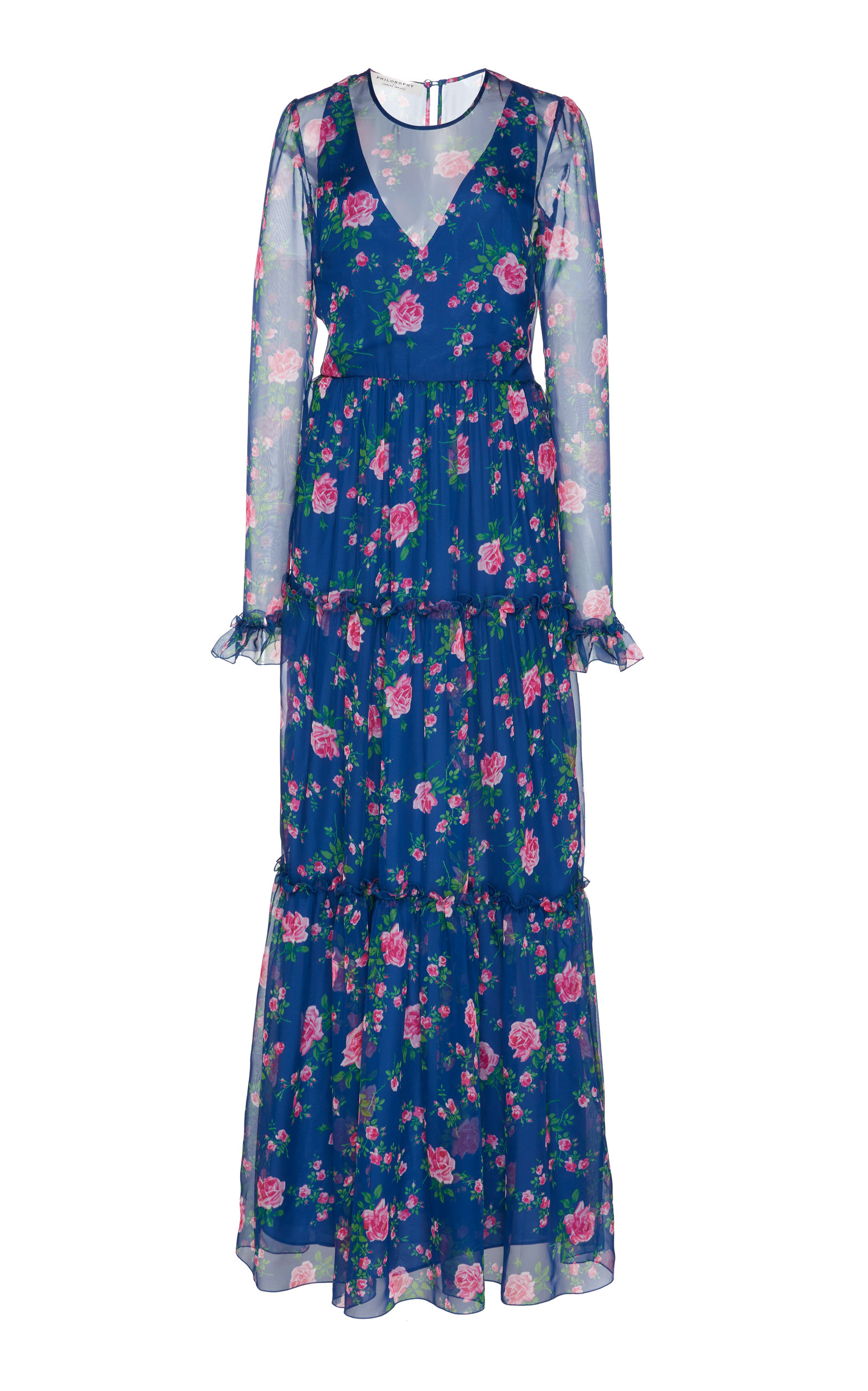 Buy Philosophy di Lorenzo Serafini Floral-Patterned Chiffon Maxi Dress online, shop Philosophy di Lorenzo Serafini at the best price