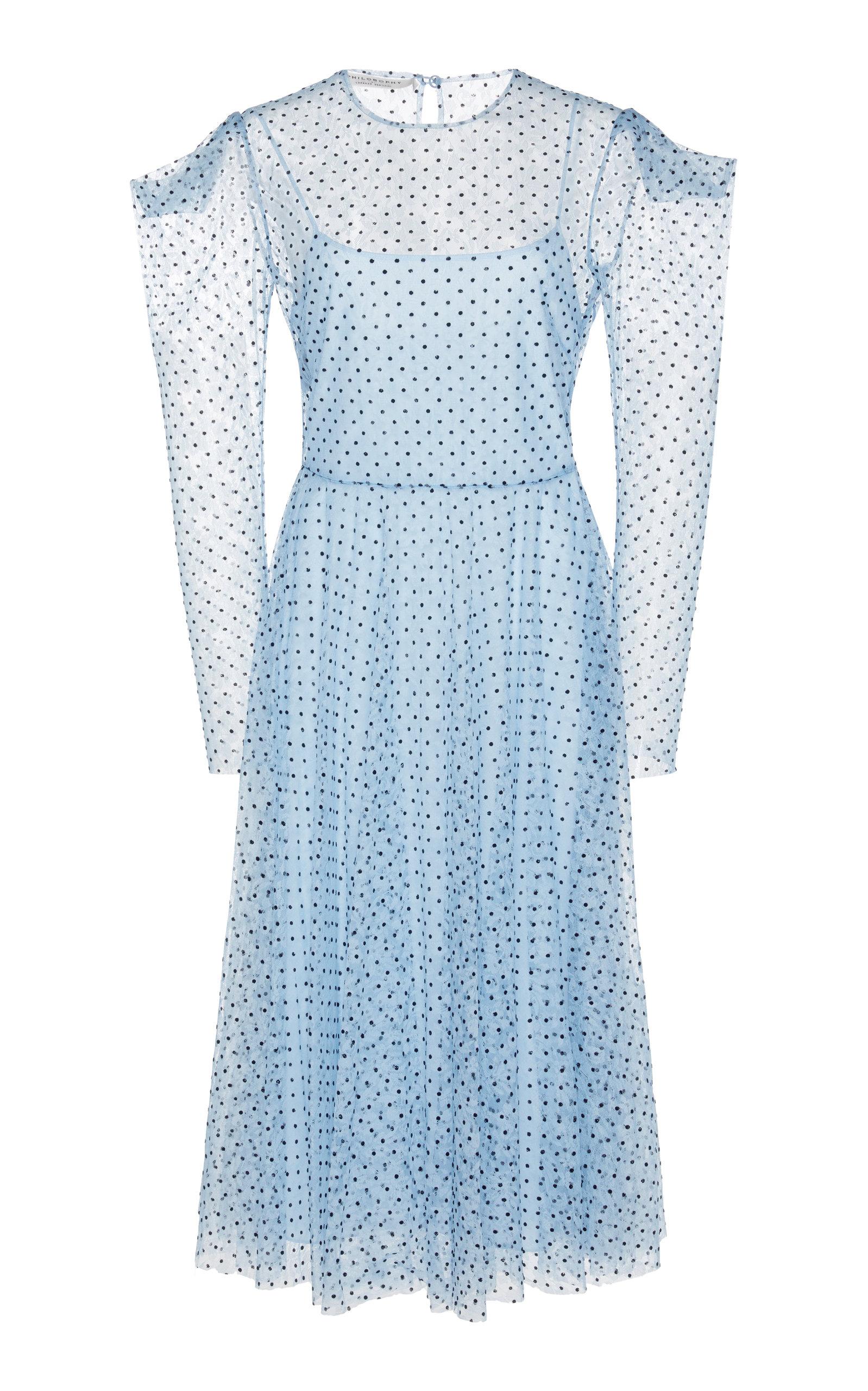 Buy Philosophy di Lorenzo Serafini Polka Dot Puff Shoulder Chiffon Dress online, shop Philosophy di Lorenzo Serafini at the best price