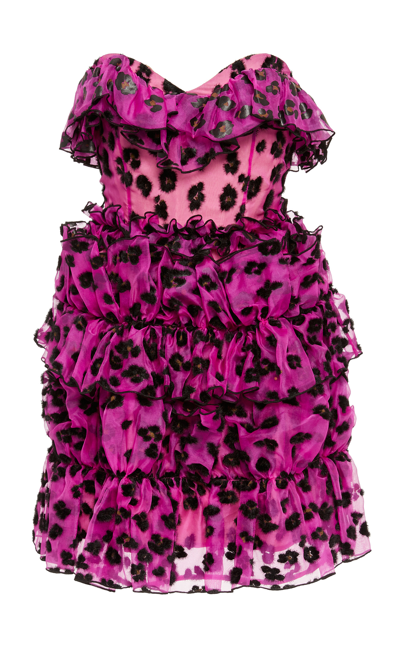 Buy Christopher Kane Leopard Ruffled Corset Mini Dress online, shop Christopher Kane at the best price