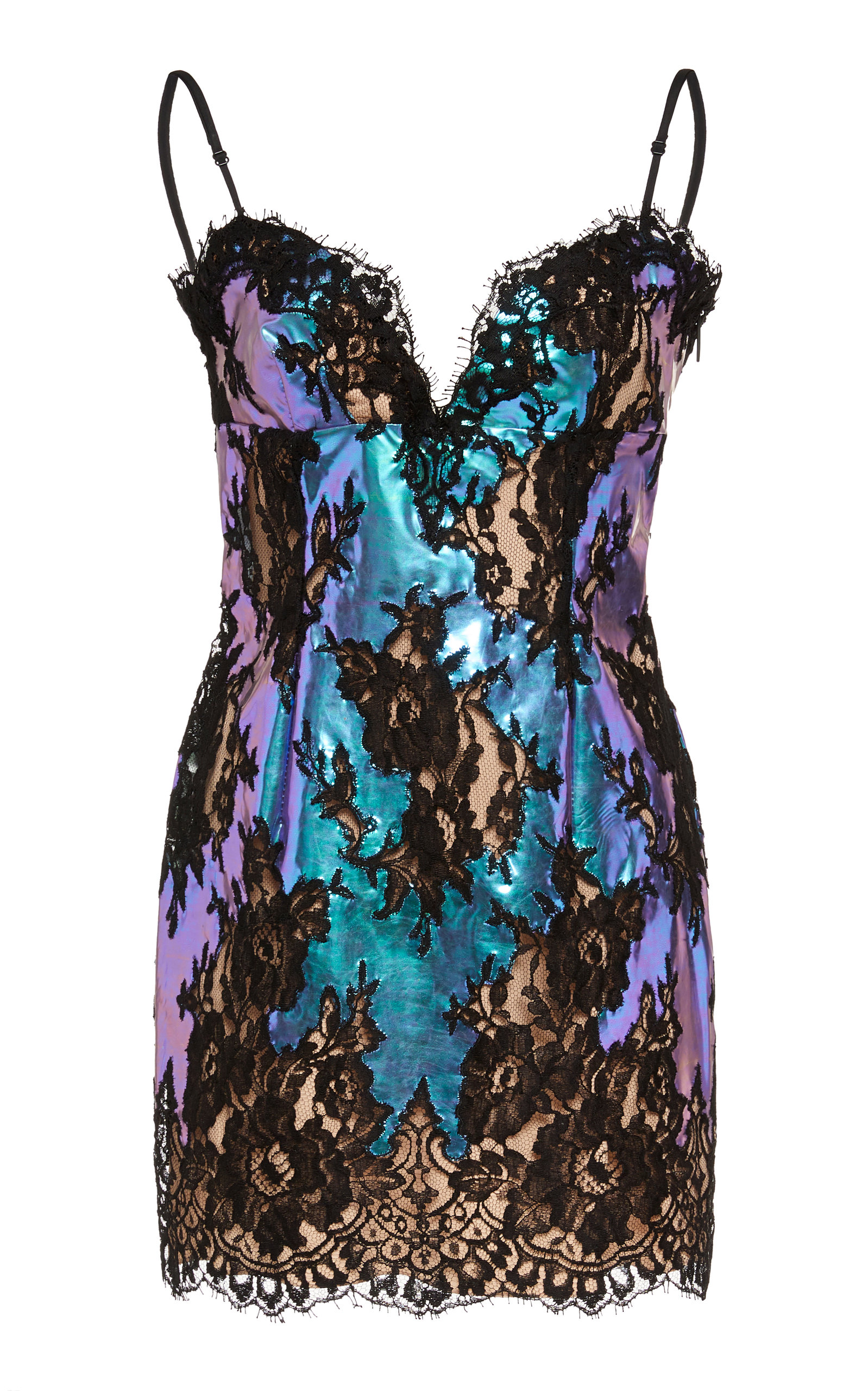 Buy Christopher Kane Lace-Trimmed Metallic Mini Dress online, shop Christopher Kane at the best price