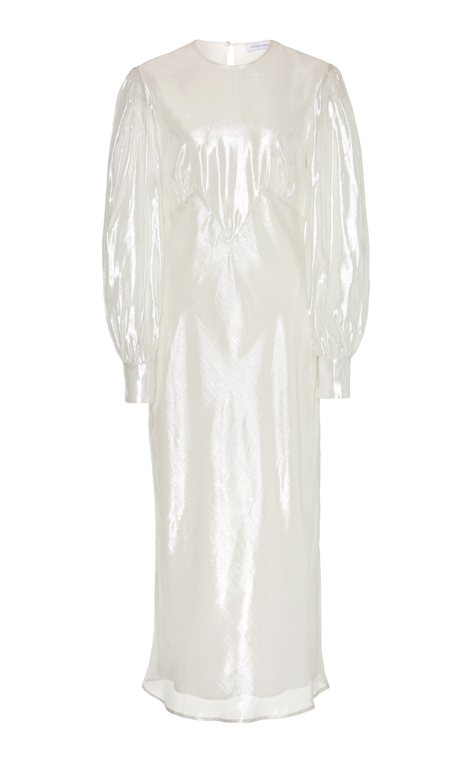 Buy Olivia von Halle Aureta Silk-Lamé Midi Dress online, shop Olivia von Halle at the best price