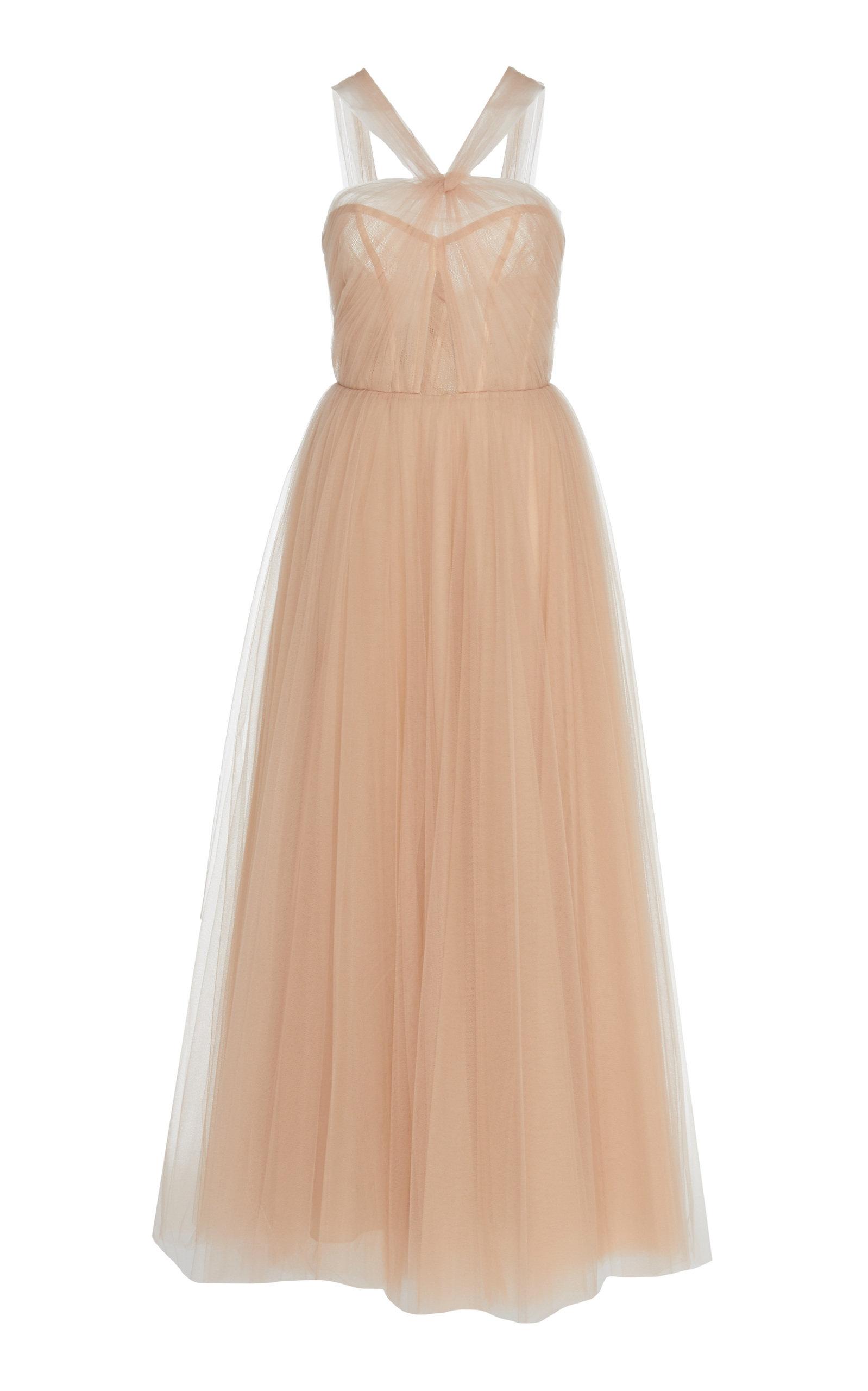 Buy Monique Lhuillier Halter Fit-And-Flare Tulle Gown online, shop Monique Lhuillier at the best price