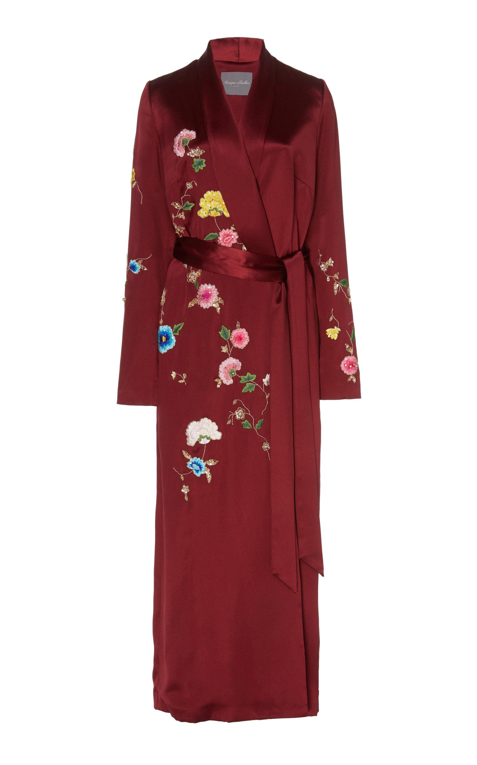 Buy Monique Lhuillier Floral Embroidered Crepe Wrap Dress online, shop Monique Lhuillier at the best price