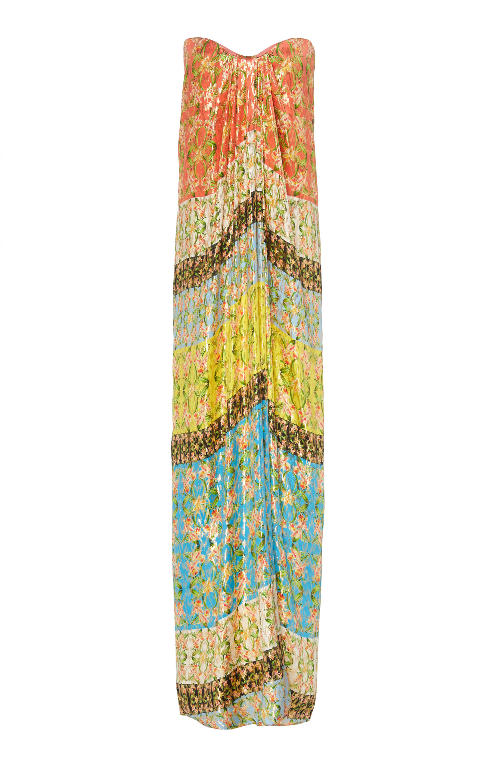 Buy Monique Lhuillier Printed Strapless Silk-Blend Lame Dress online, shop Monique Lhuillier at the best price