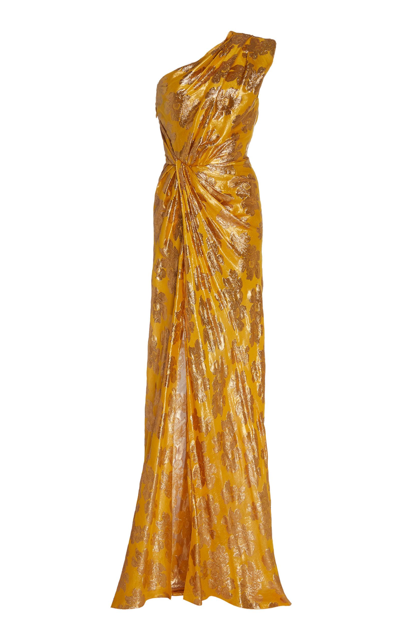 Buy Monique Lhuillier Metallic Jacquard One-Shoulder Gown online, shop Monique Lhuillier at the best price