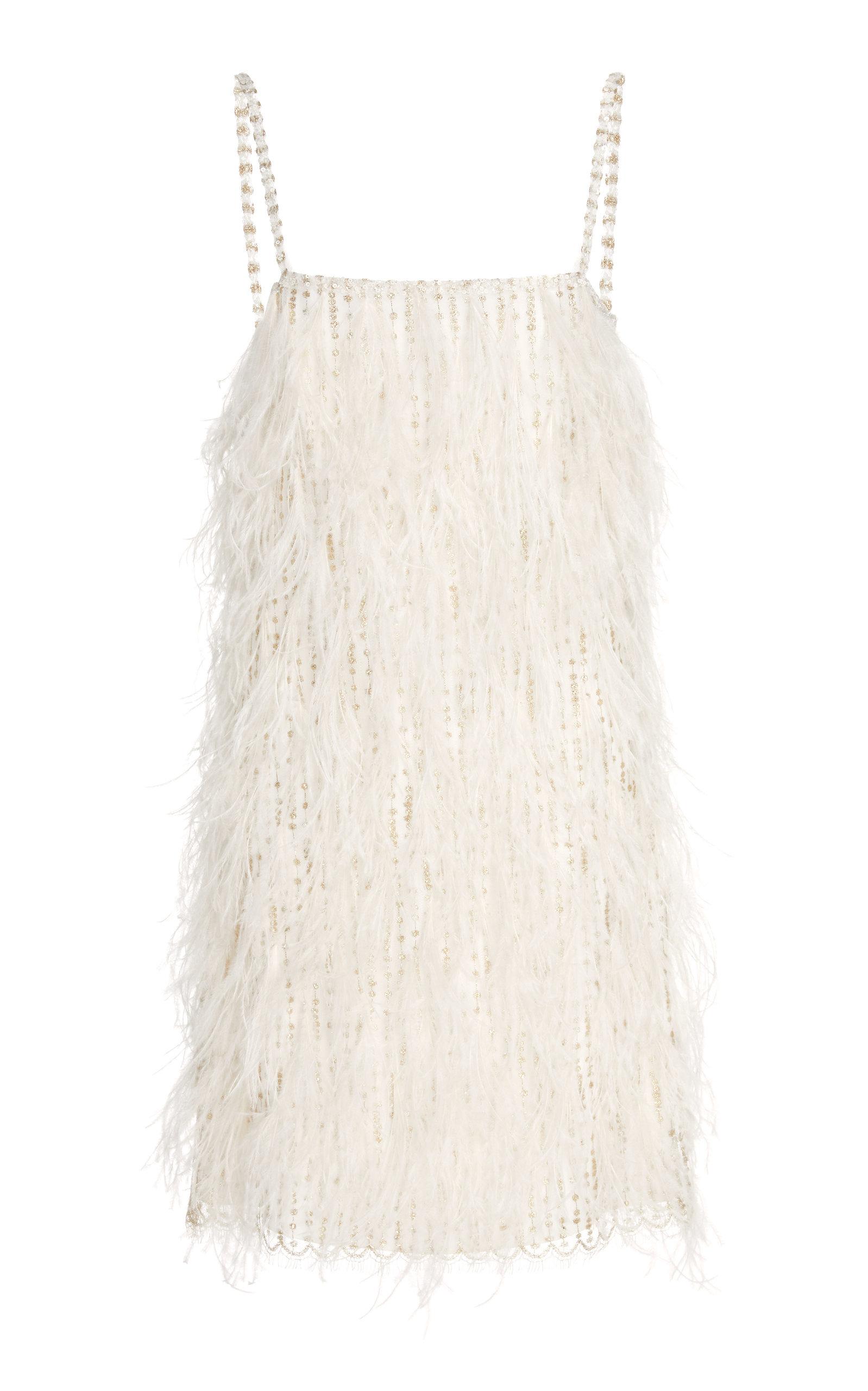 Buy Monique Lhuillier Ostrich Feather-Trim Shift Dress online, shop Monique Lhuillier at the best price
