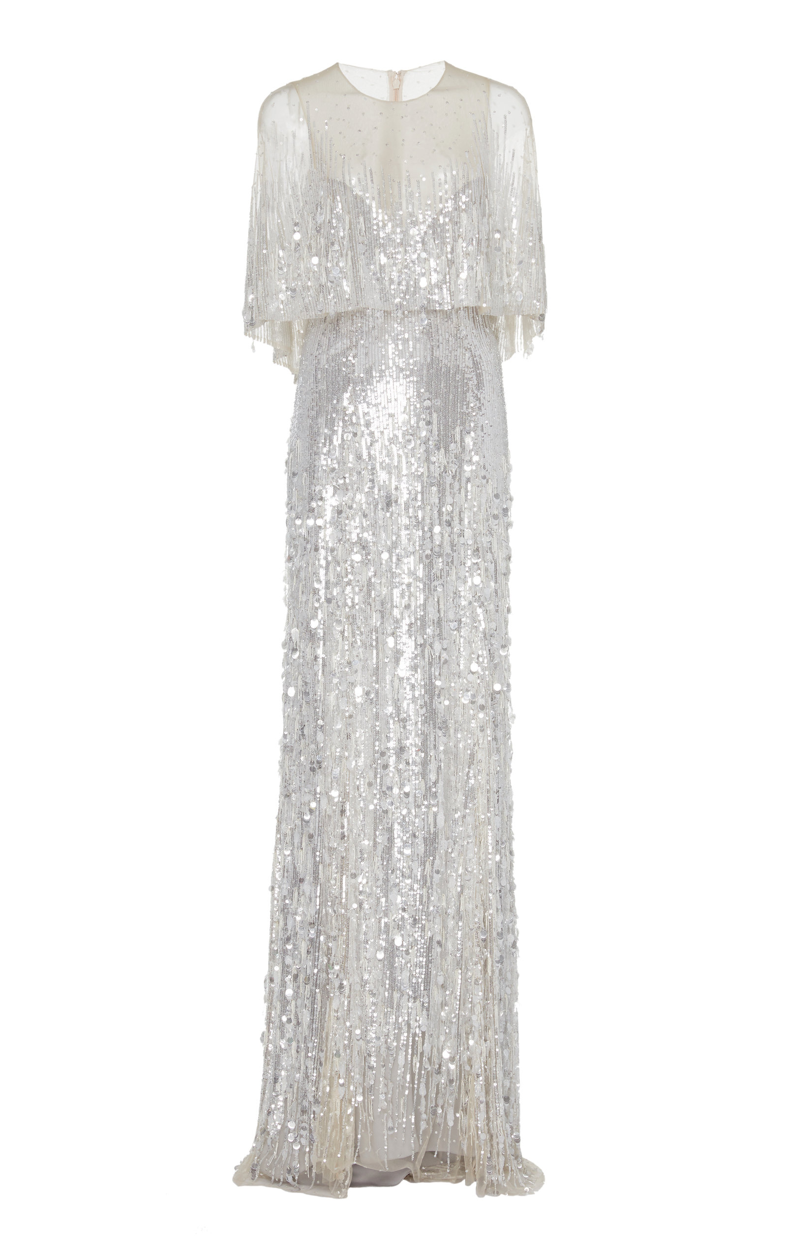Buy Monique Lhuillier Embroidered Metallic Capelet Tulle Gown online, shop Monique Lhuillier at the best price