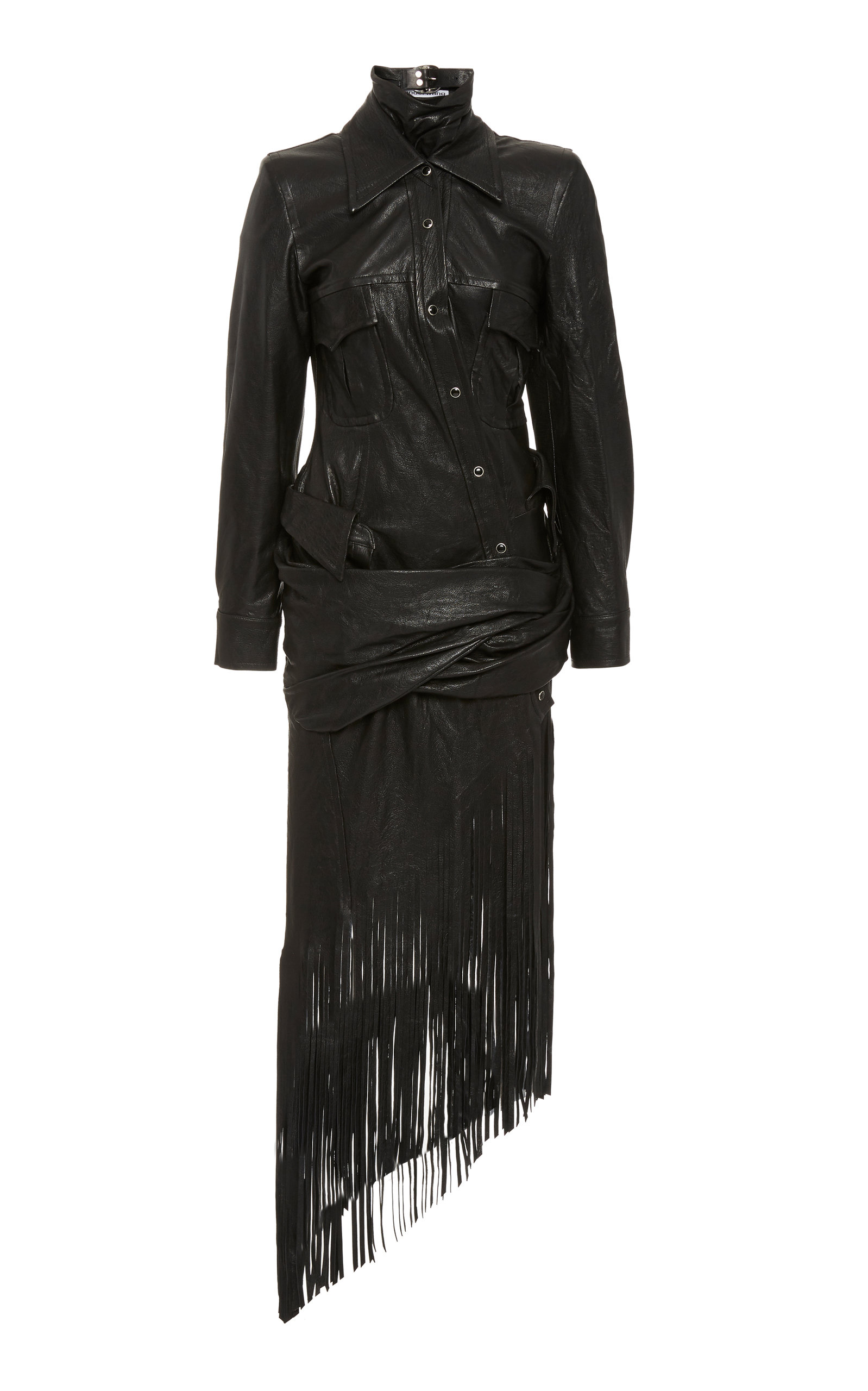 Buy Alexander Wang Fringed Asymmetric Leather Dress online, shop Alexander Wang at the best price