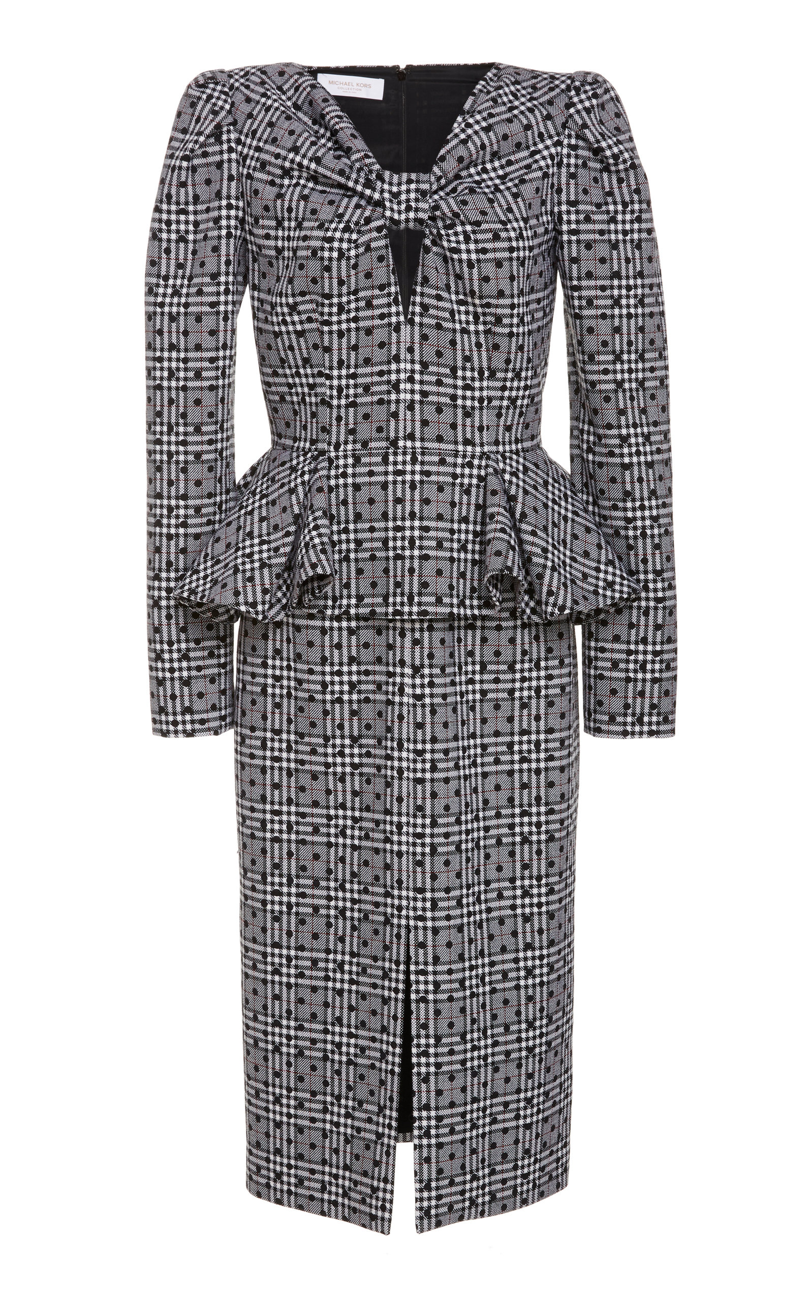 Buy Michael Kors Collection Multi-Print Cut-Out Wool Peplum Dress online, shop Michael Kors Collection at the best price