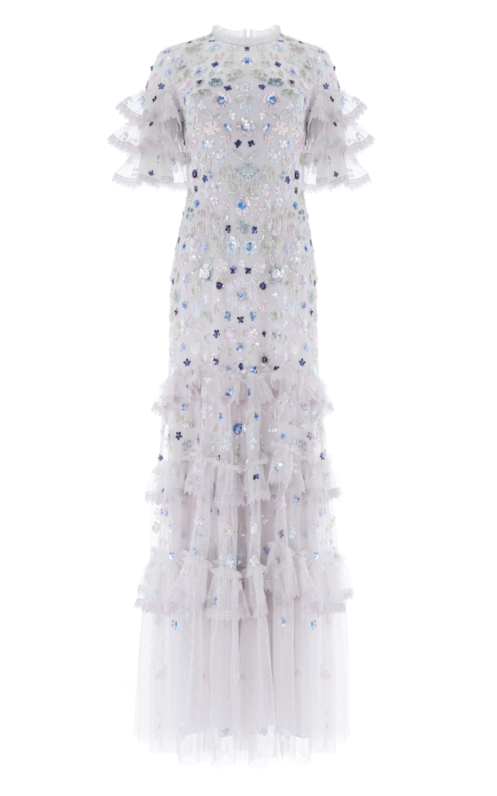 Buy Needle & Thread Meadow Ruffled Sequin Gown online, shop Needle & Thread at the best price