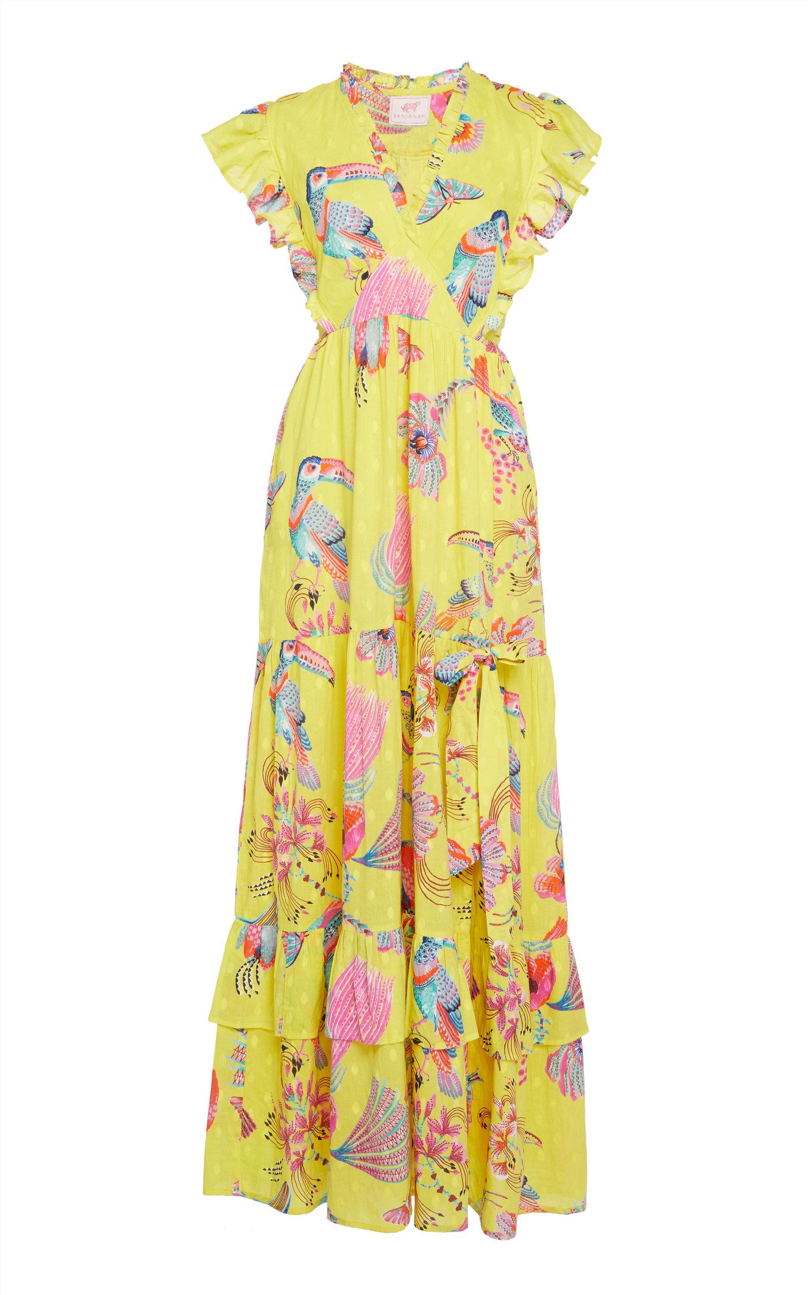 Buy Banjanan Gabriela Buttercup Flamingo Cotton Maxi Dress online, shop Banjanan at the best price