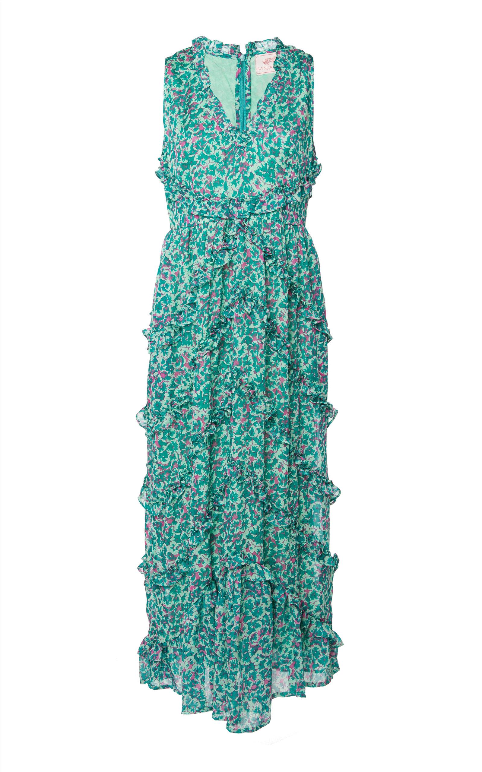 Buy Banjanan Gizela Ruffled Silk Midi Dress online, shop Banjanan at the best price