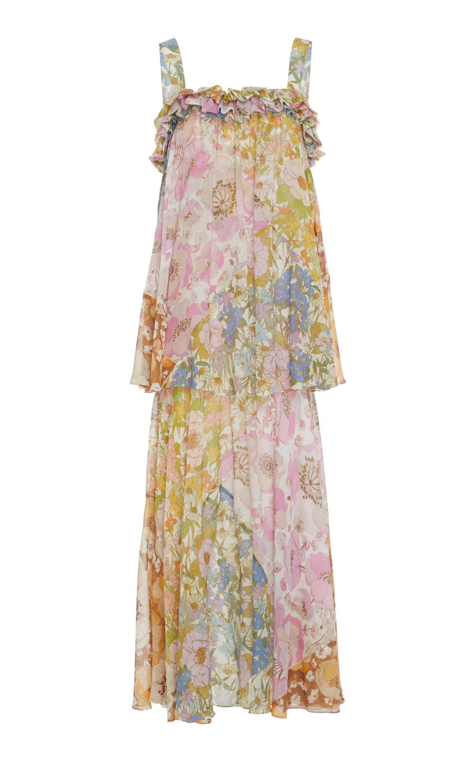 Buy Zimmermann Tiered Floral-Print Cotton-Blend Maxi Dress online, shop Zimmermann at the best price