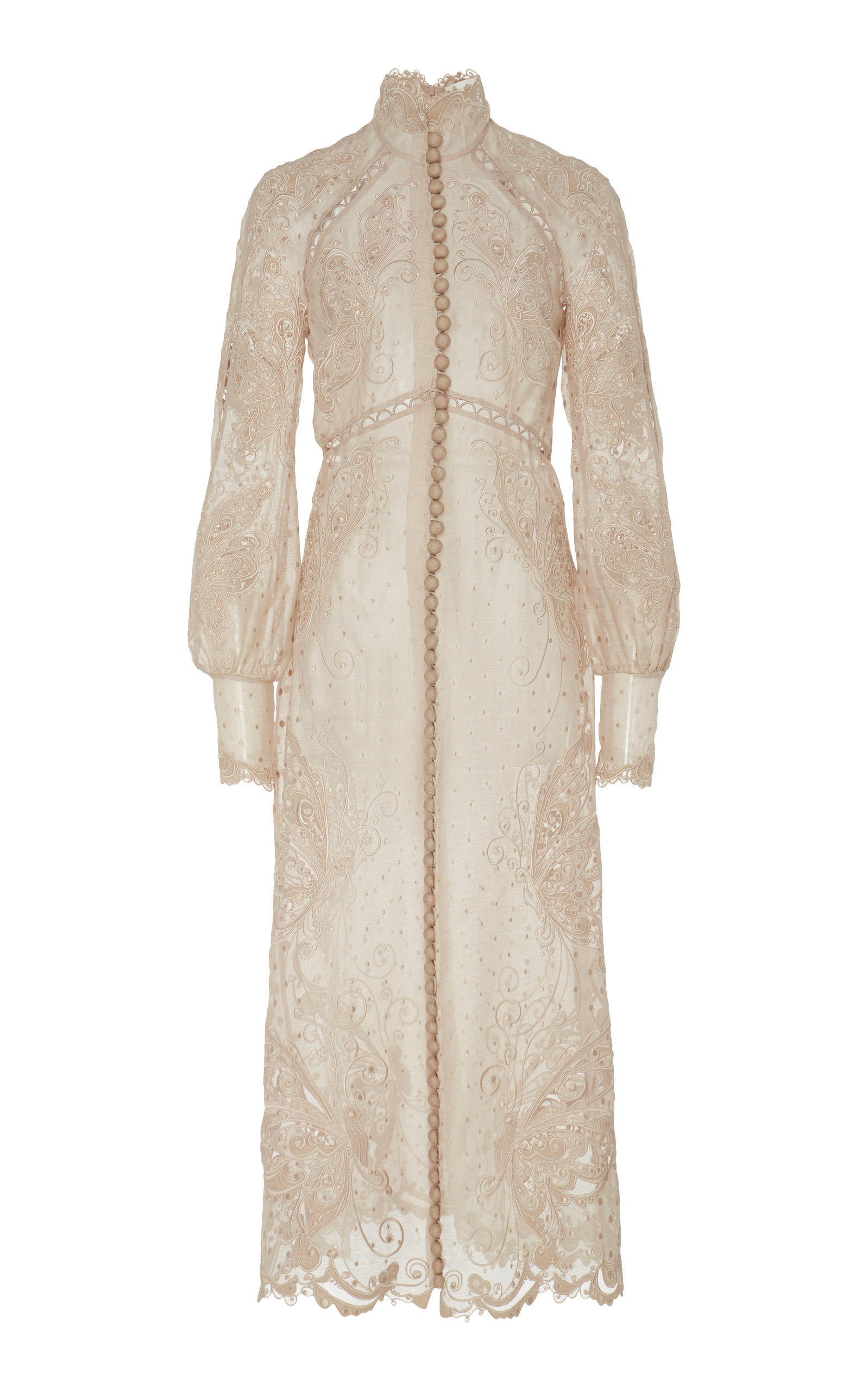 Buy Zimmermann Button-Embellished Embroidered Midi Dress online, shop Zimmermann at the best price