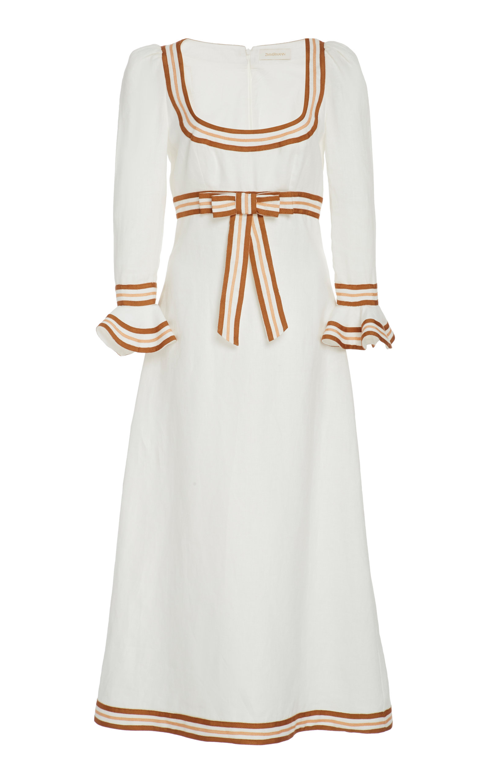 Buy Zimmermann Grosgrain-Trimmed Linen Midi Dress online, shop Zimmermann at the best price