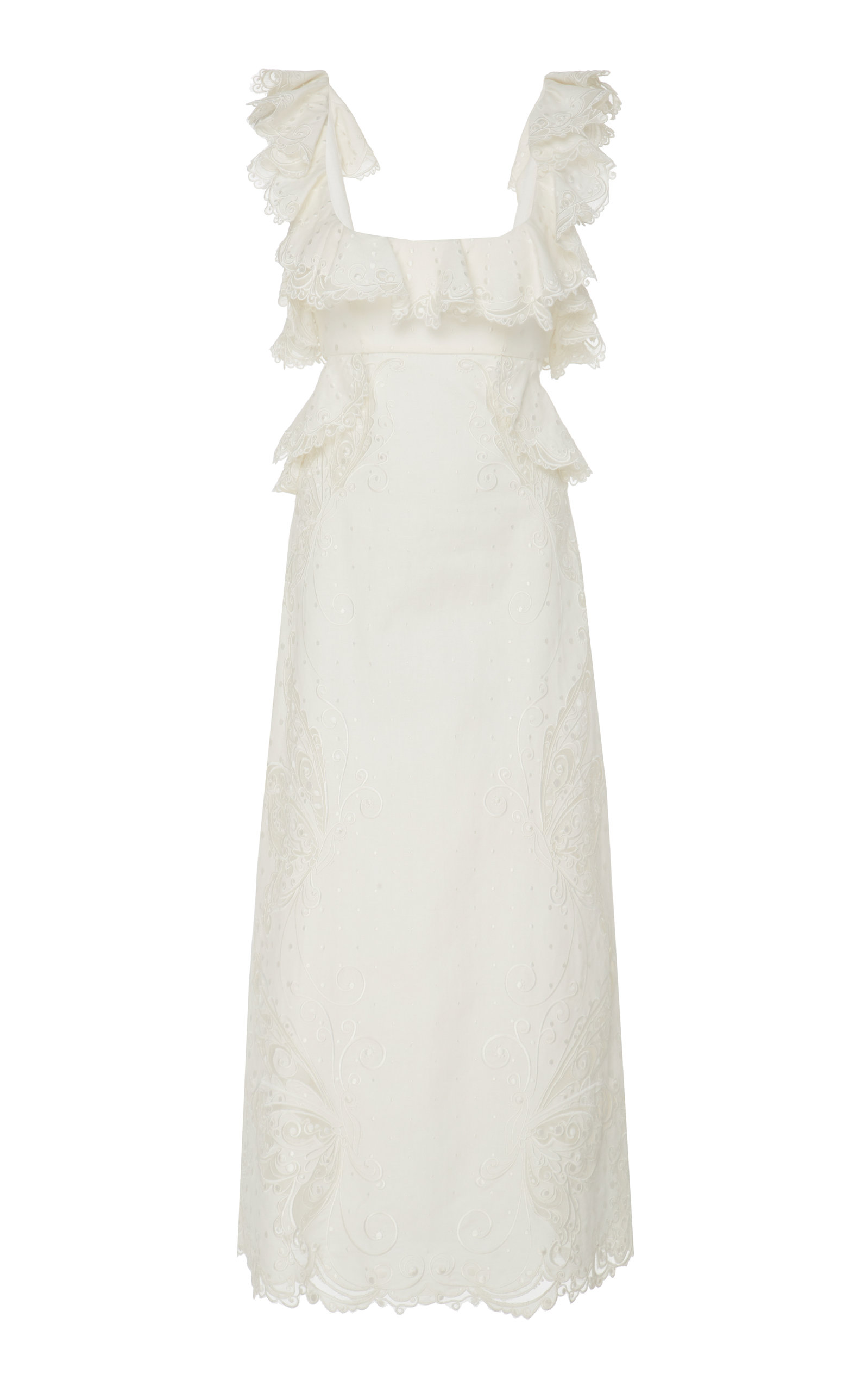 Buy Zimmermann Cutout Ruffled Silk-Blend Midi Dress online, shop Zimmermann at the best price