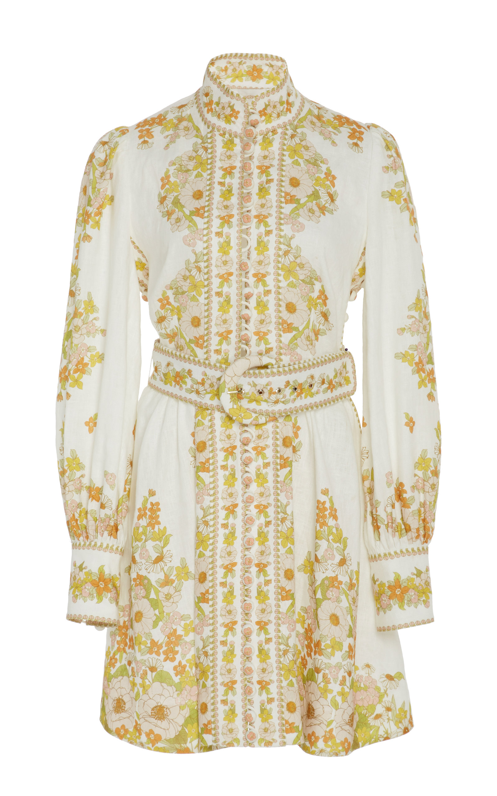 Buy Zimmermann Belted Floral-Print Linen Mini Dress online, shop Zimmermann at the best price