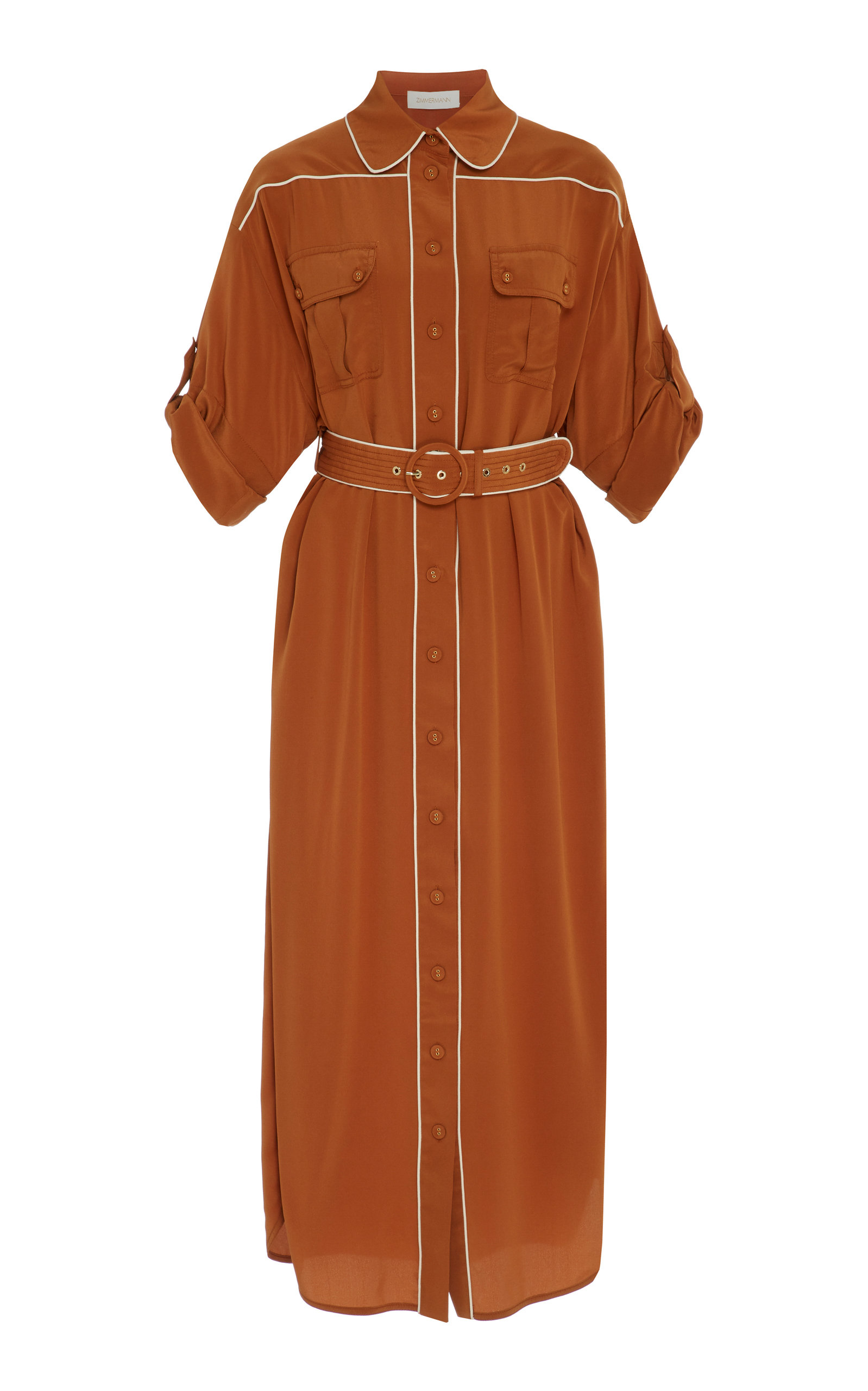Buy Zimmermann Belted Two-Tone Washed Silk Midi Dress online, shop Zimmermann at the best price