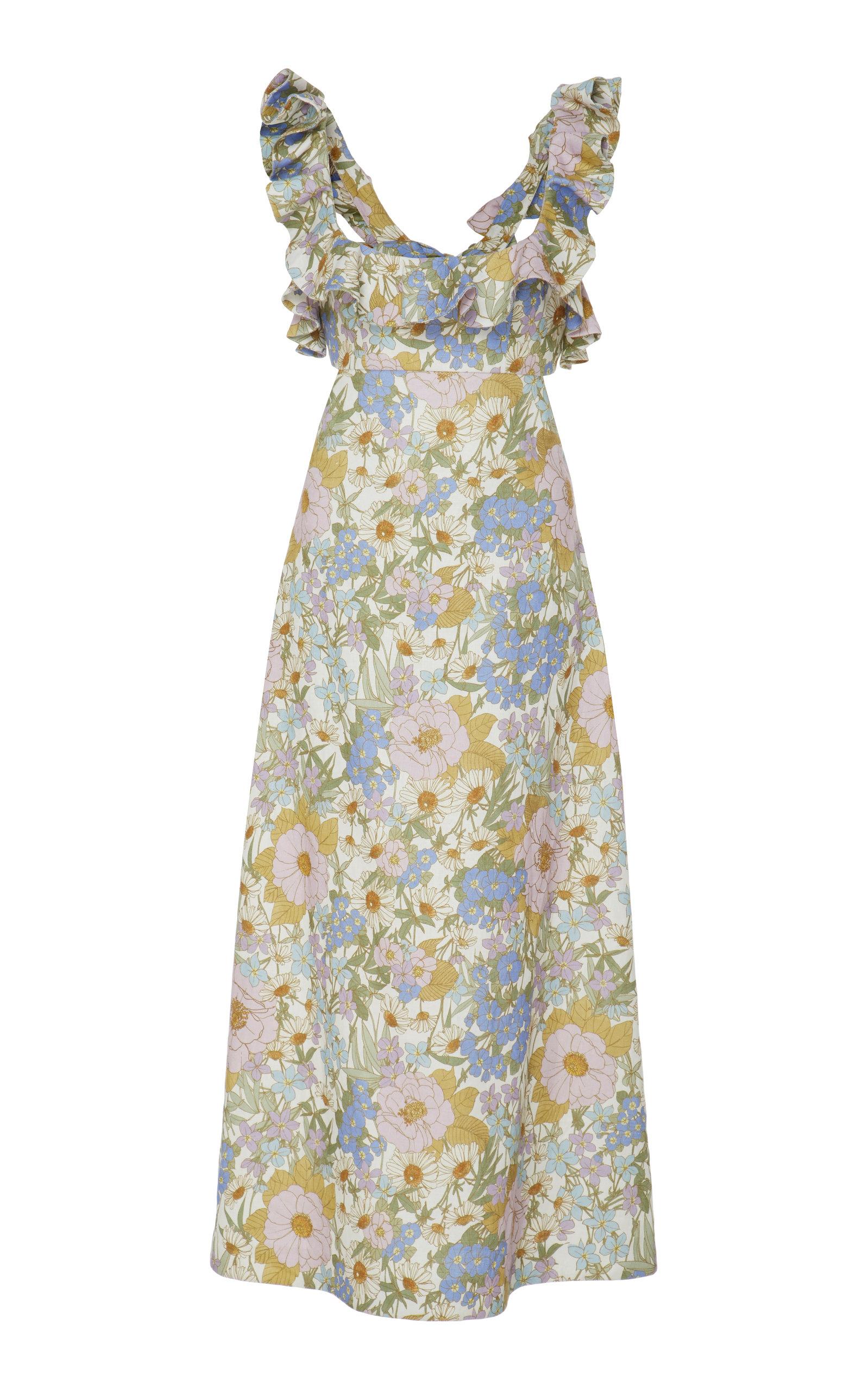 Buy Zimmermann Ruffled Floral-Print Linen Midi Dress online, shop Zimmermann at the best price