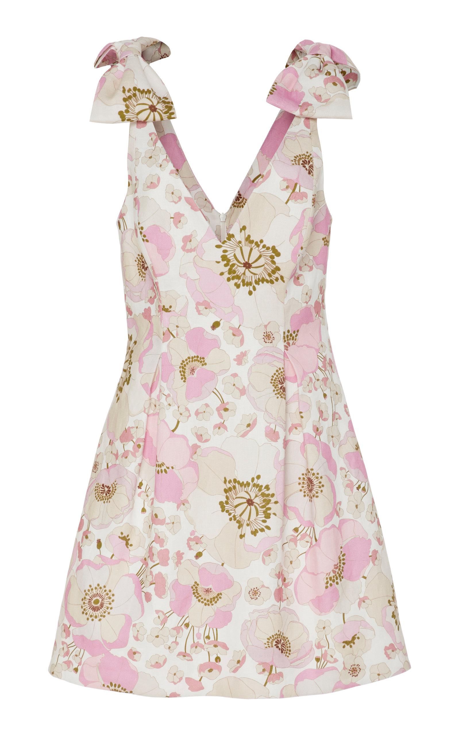 Buy Zimmermann Tie-Detailed Floral-Print Linen Mini Dress online, shop Zimmermann at the best price