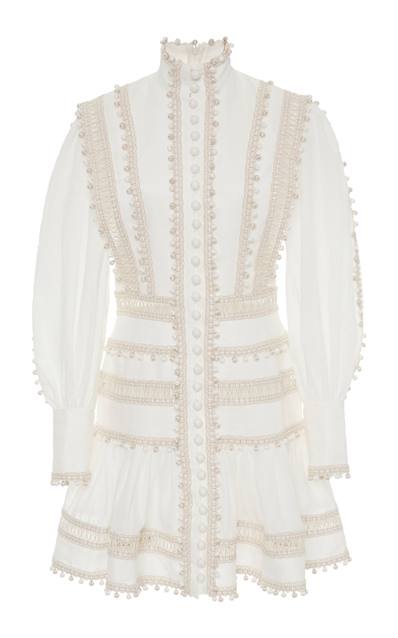 Buy Zimmermann Embroidered Button-Detailed Ramie Mini Dress online, shop Zimmermann at the best price