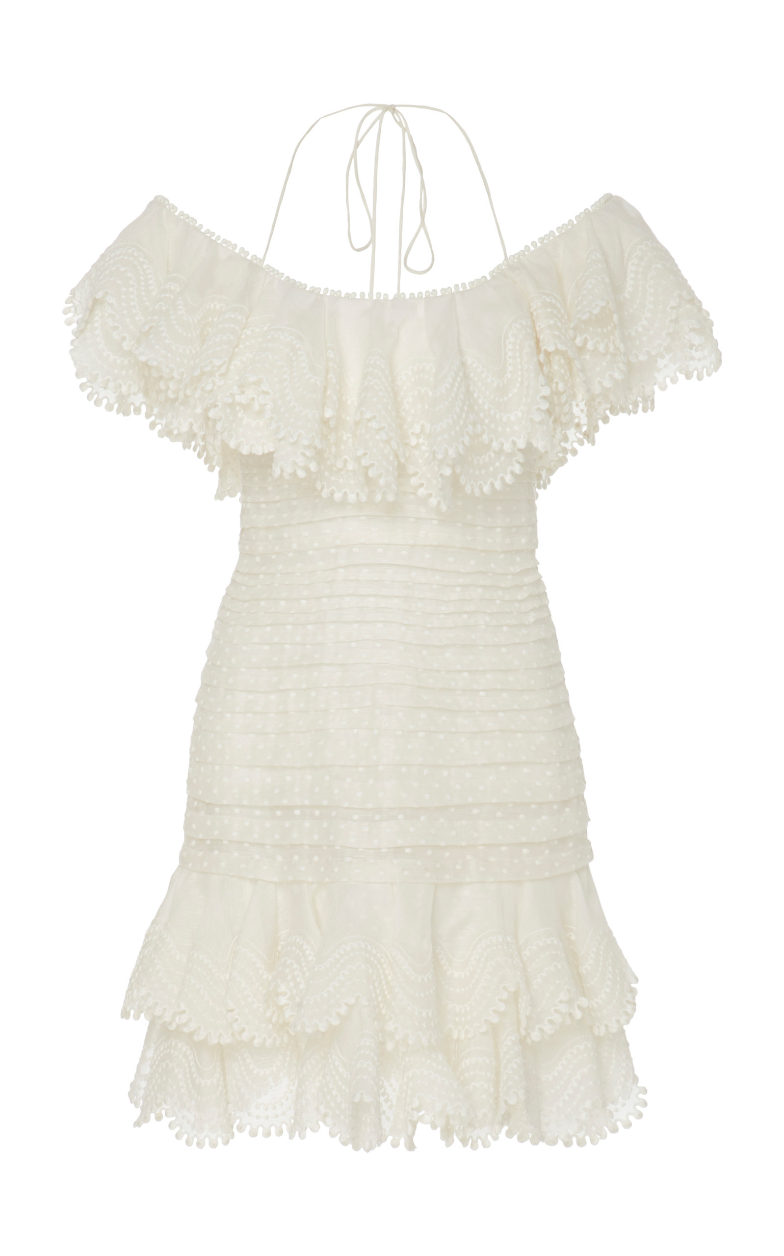 Buy Zimmermann Ruffled Off-The-Shoulder Linen-Blend Mini Dress online, shop Zimmermann at the best price