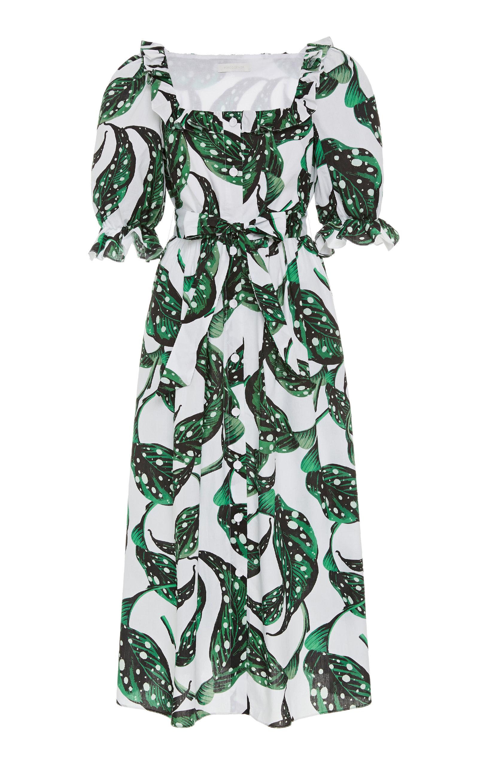 Buy Borgo De Nor Corina Printed Cotton-Poplin Midi Dress online, shop Borgo De Nor at the best price