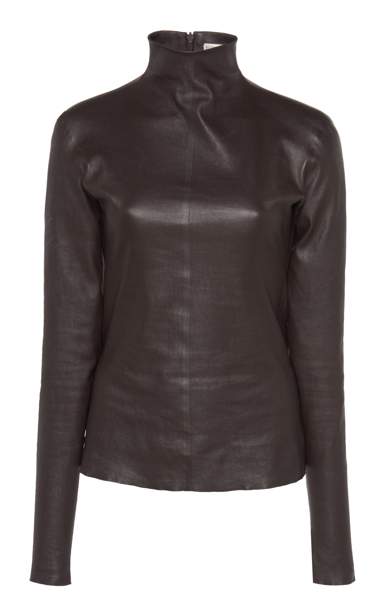 Bottega Veneta – Women's Mock Neck Leather Top – Brown – Moda Operandi