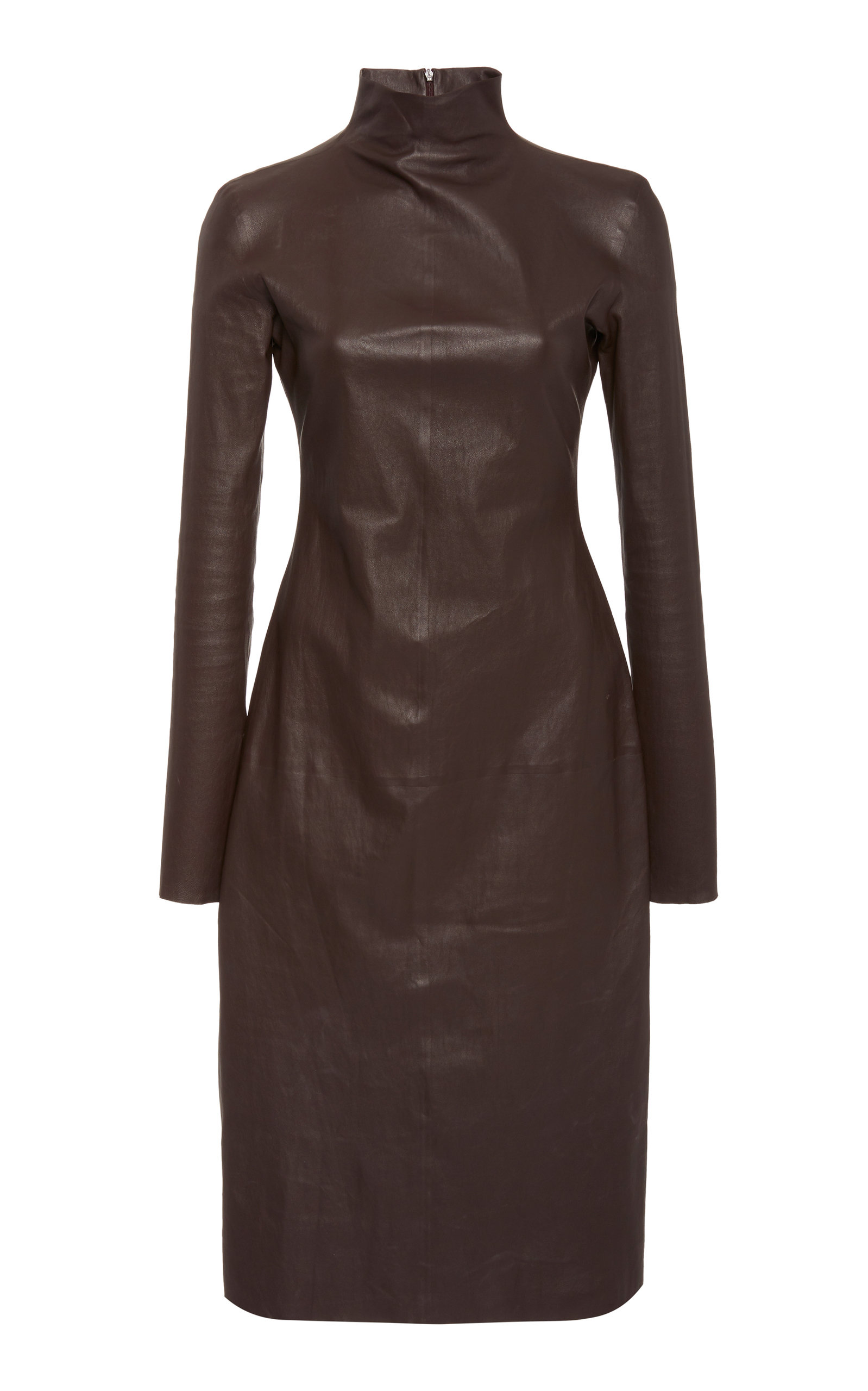 Buy Bottega Veneta Mock Neck Leather Dress online, shop Bottega Veneta at the best price